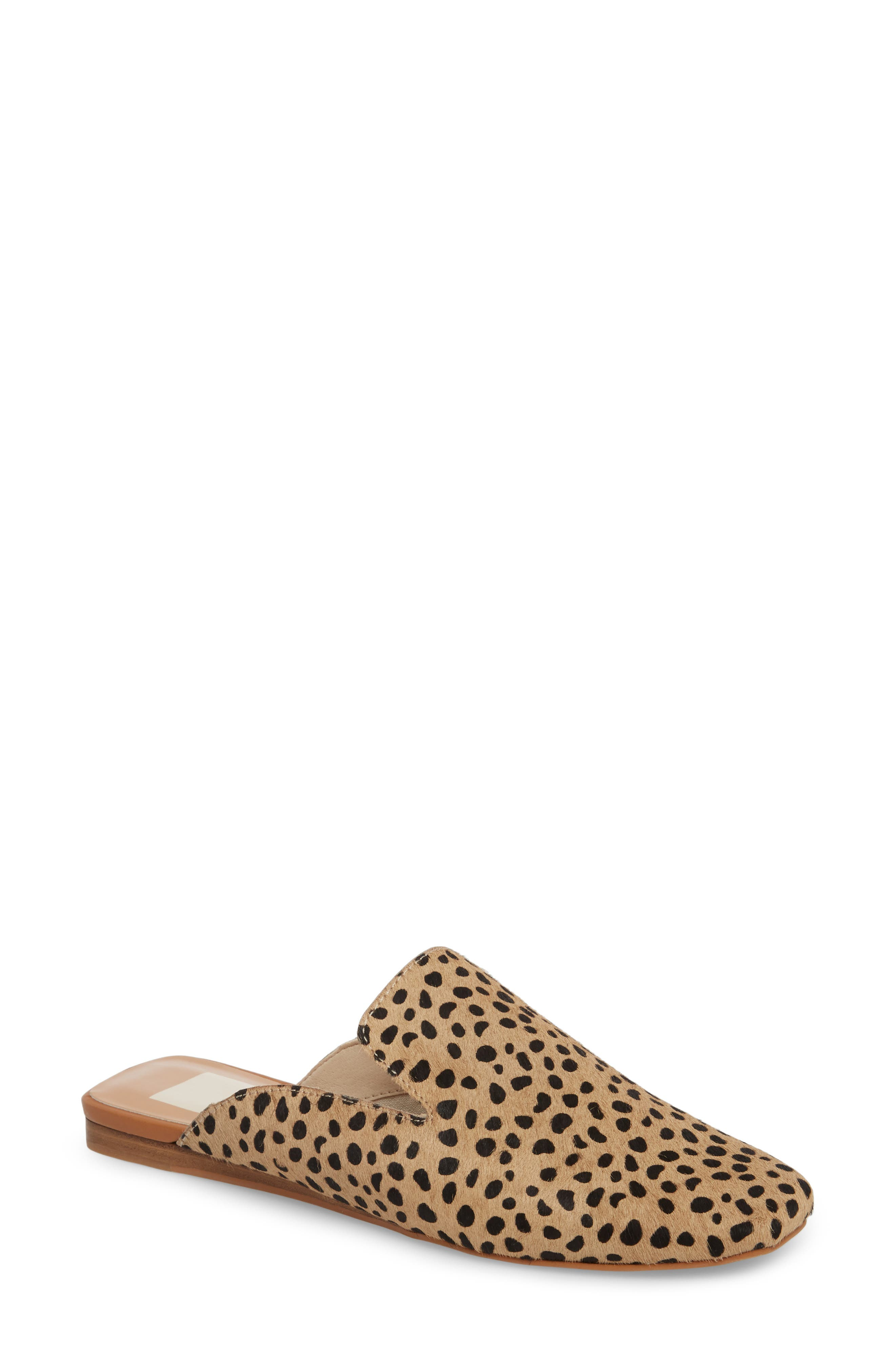 Brie Flat Mule,                         Main,                         color, LEOPARD CALF HAIR