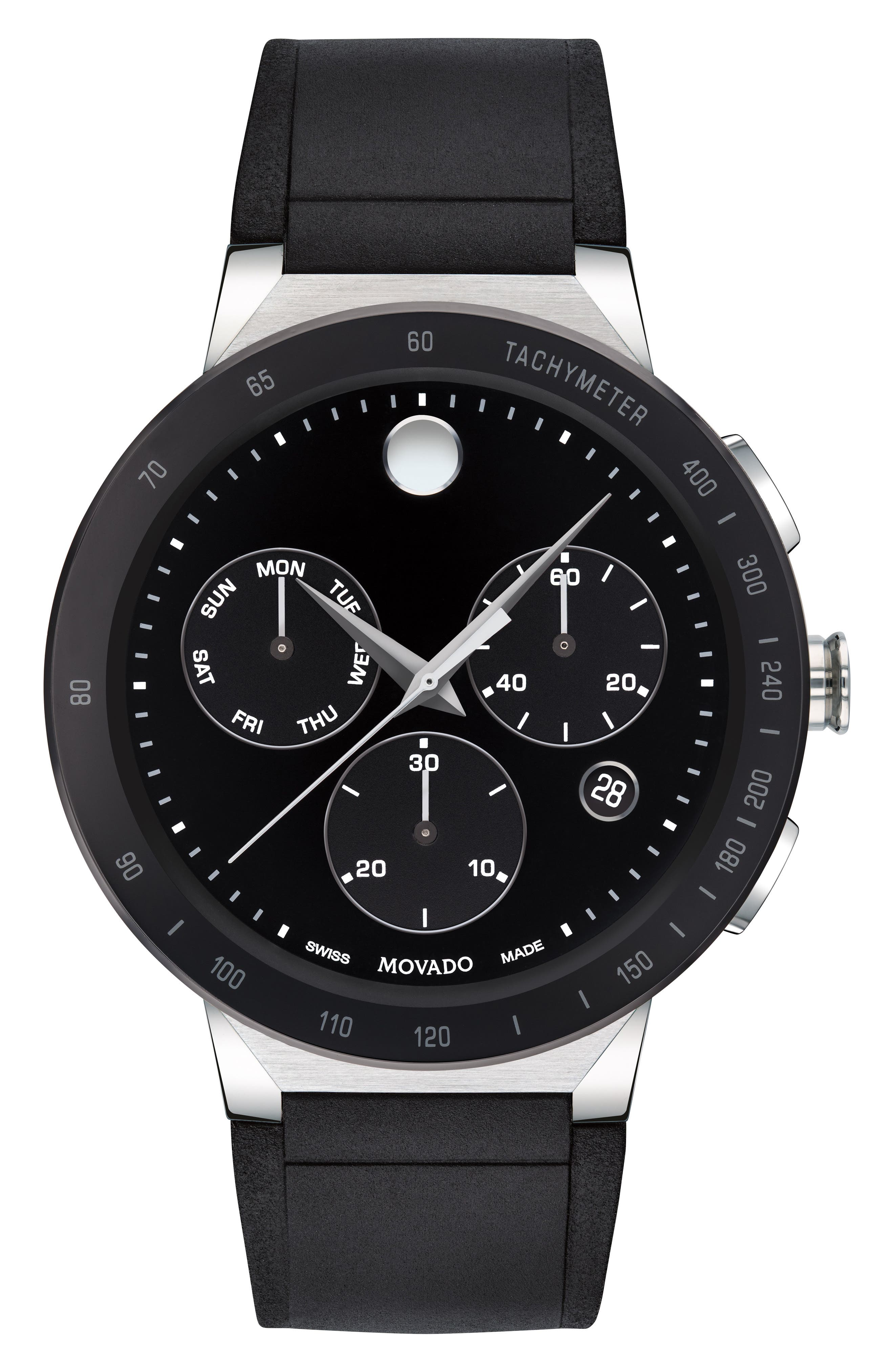 MOVADO,                             Sapphire Chronograph Rubber Strap Watch, 43mm,                             Main thumbnail 1, color,                             BLACK
