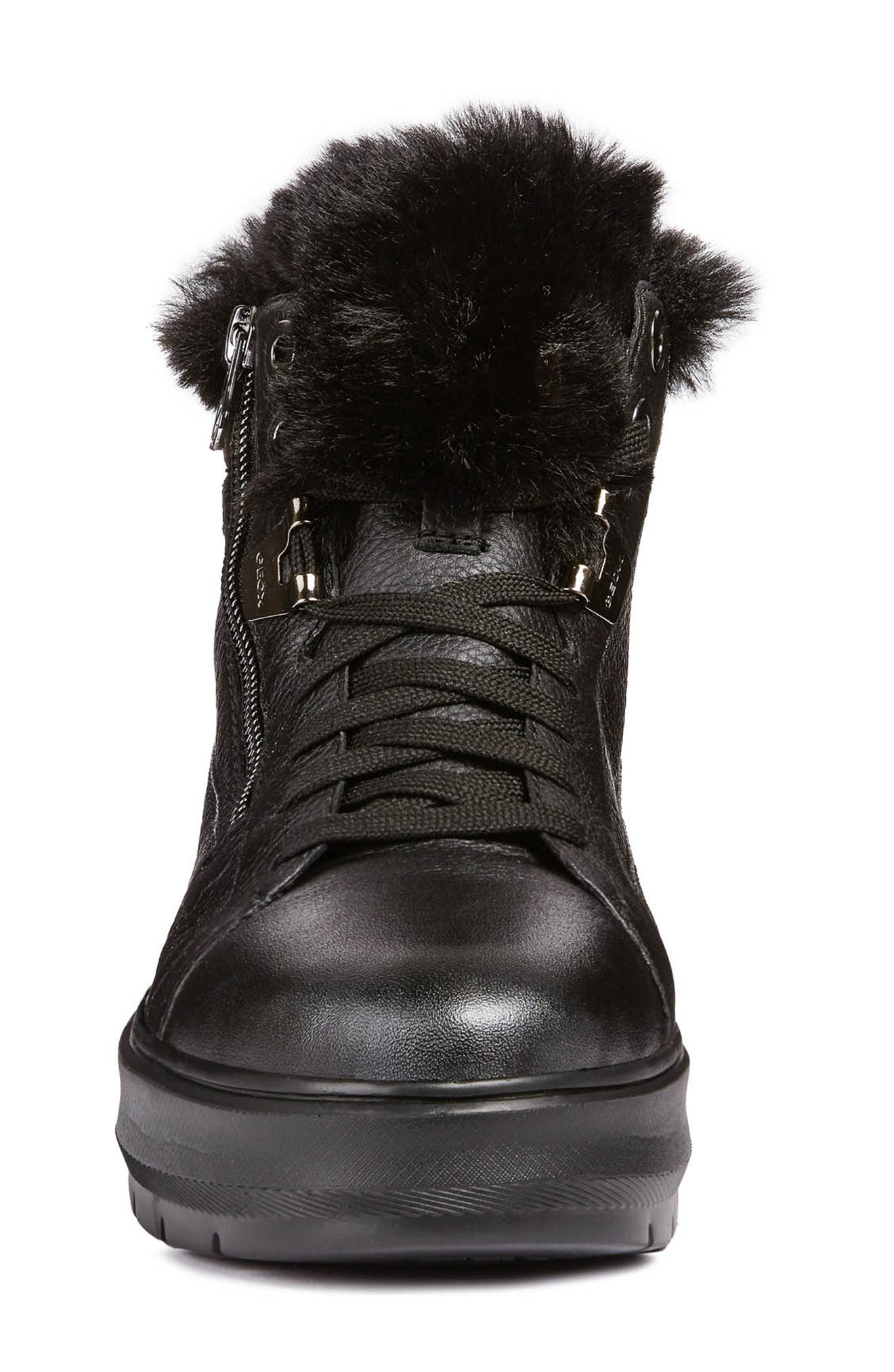 Kaula ABX Waterproof Faux-Fur Cuff Sneaker,                             Alternate thumbnail 4, color,                             BLACK LEATHER