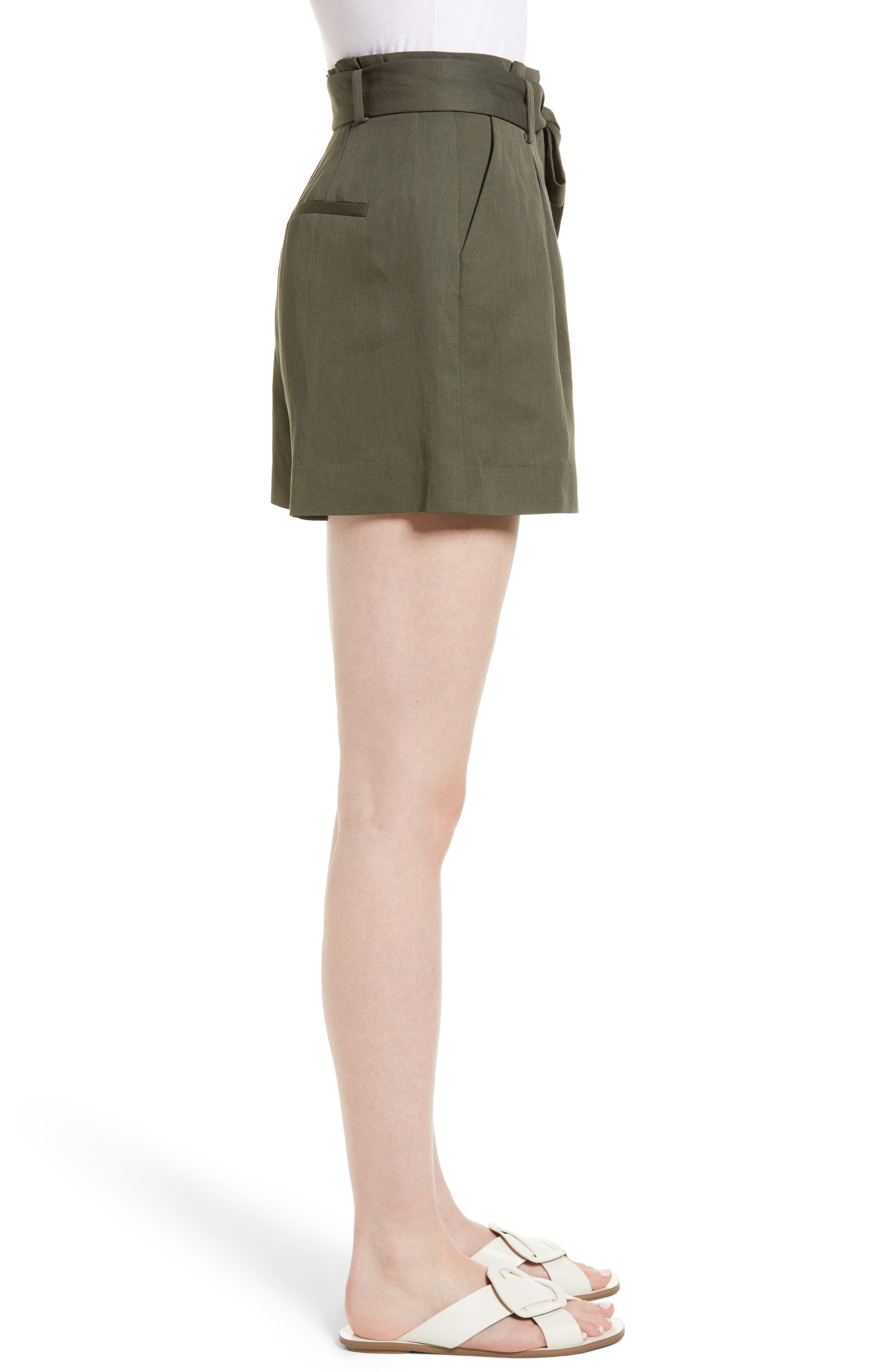 Paperbag Waist Linen & Cotton Blend Shorts,                             Alternate thumbnail 3, color,                             301