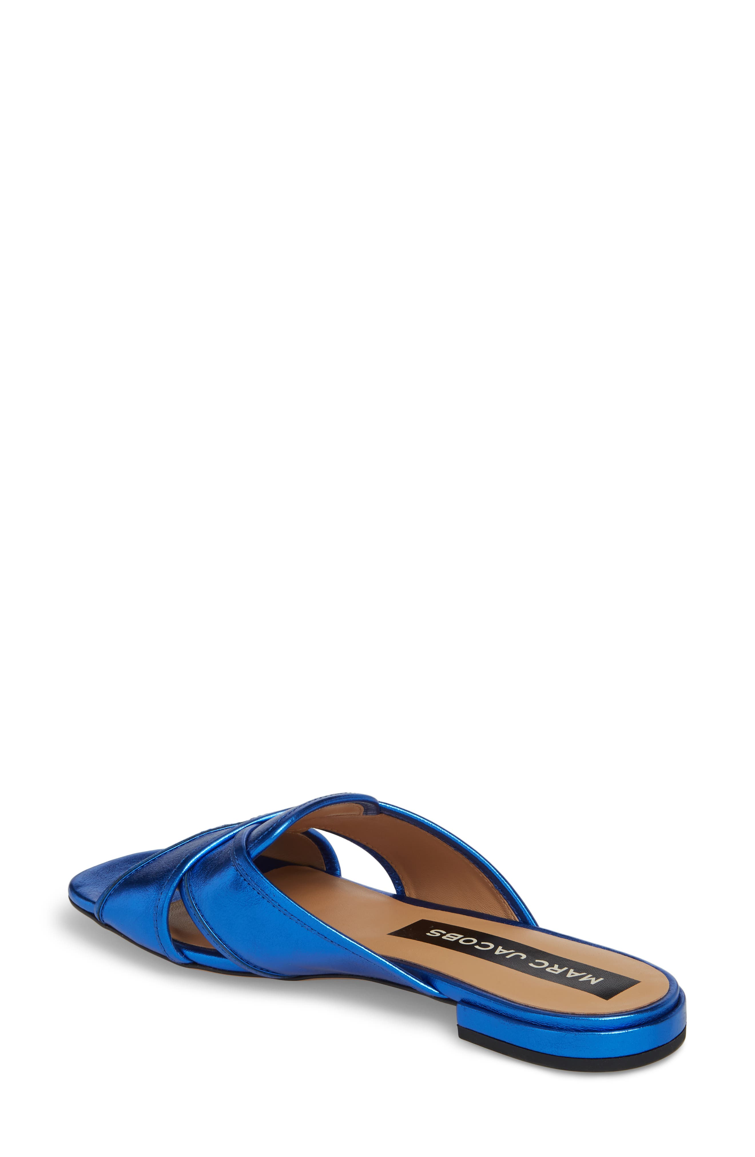Aurora Metallic Slide Sandal,                             Alternate thumbnail 2, color,                             BLUE