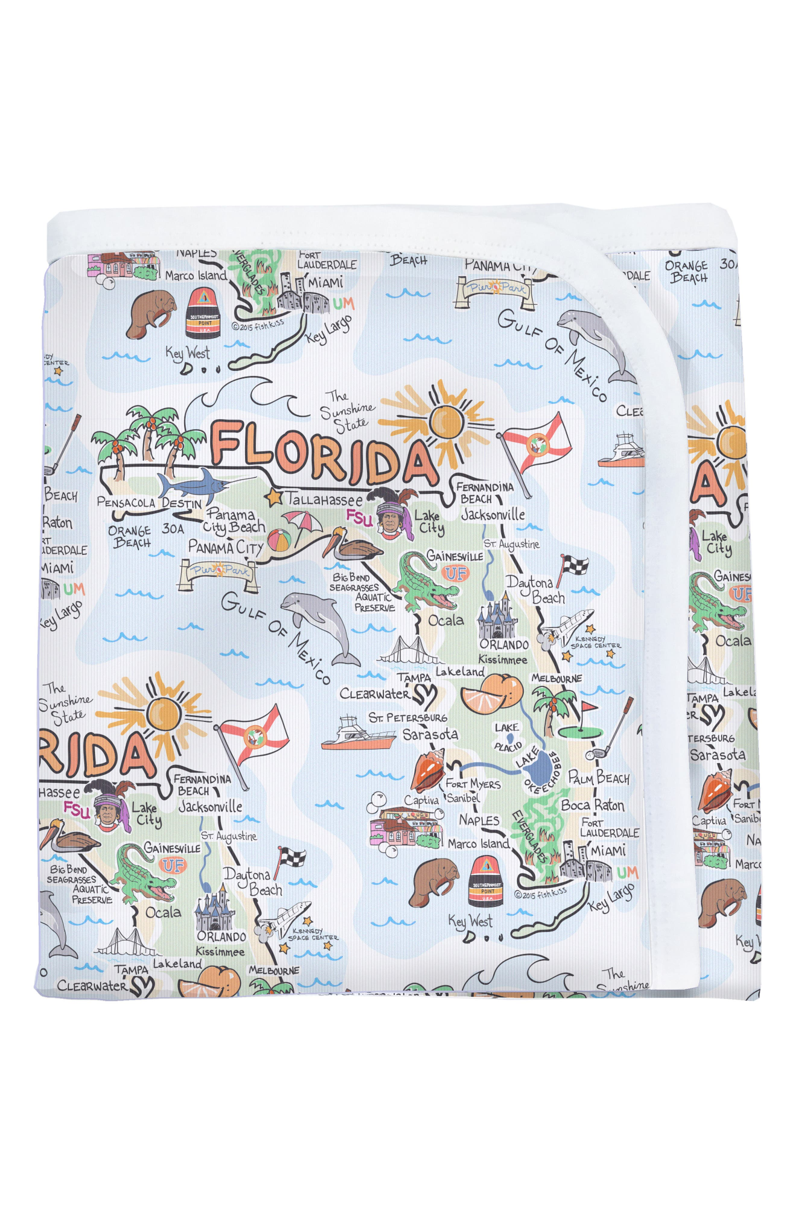 State Map Baby Blanket,                             Alternate thumbnail 4, color,                             FLORIDA