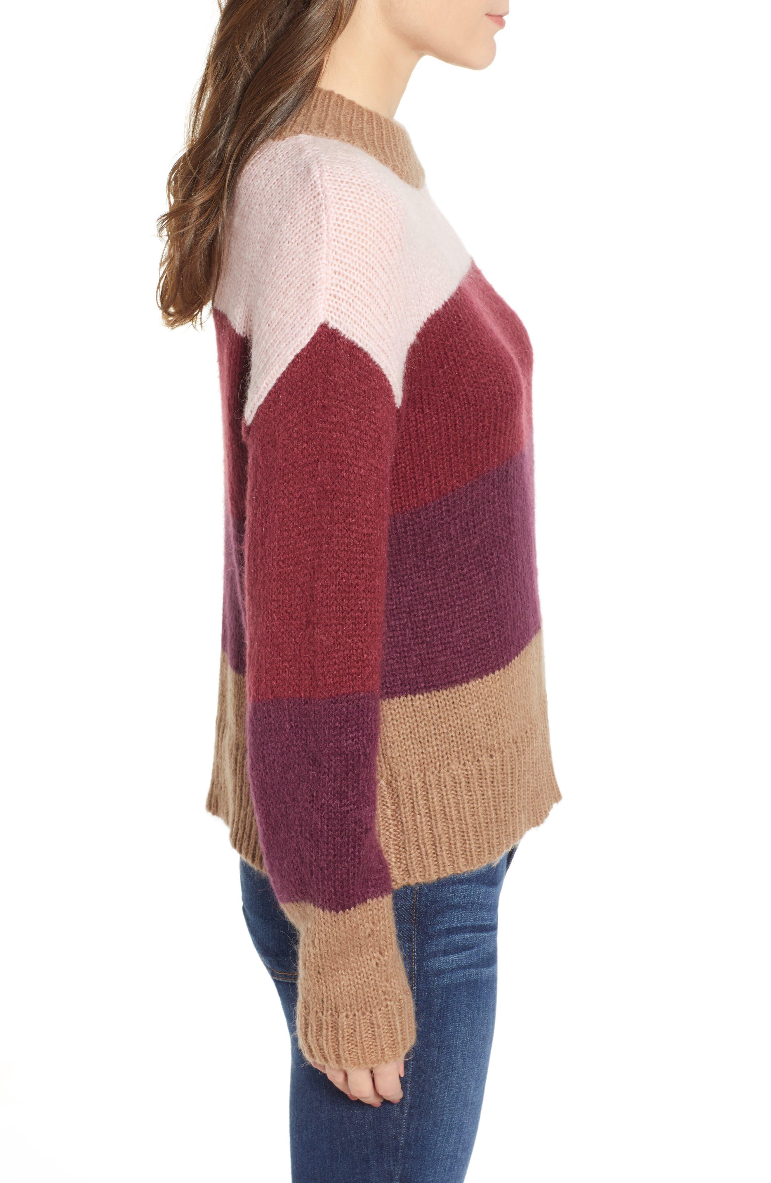 Kendall Stripe Sweater,                             Alternate thumbnail 3, color,                             CAMEL MULTI
