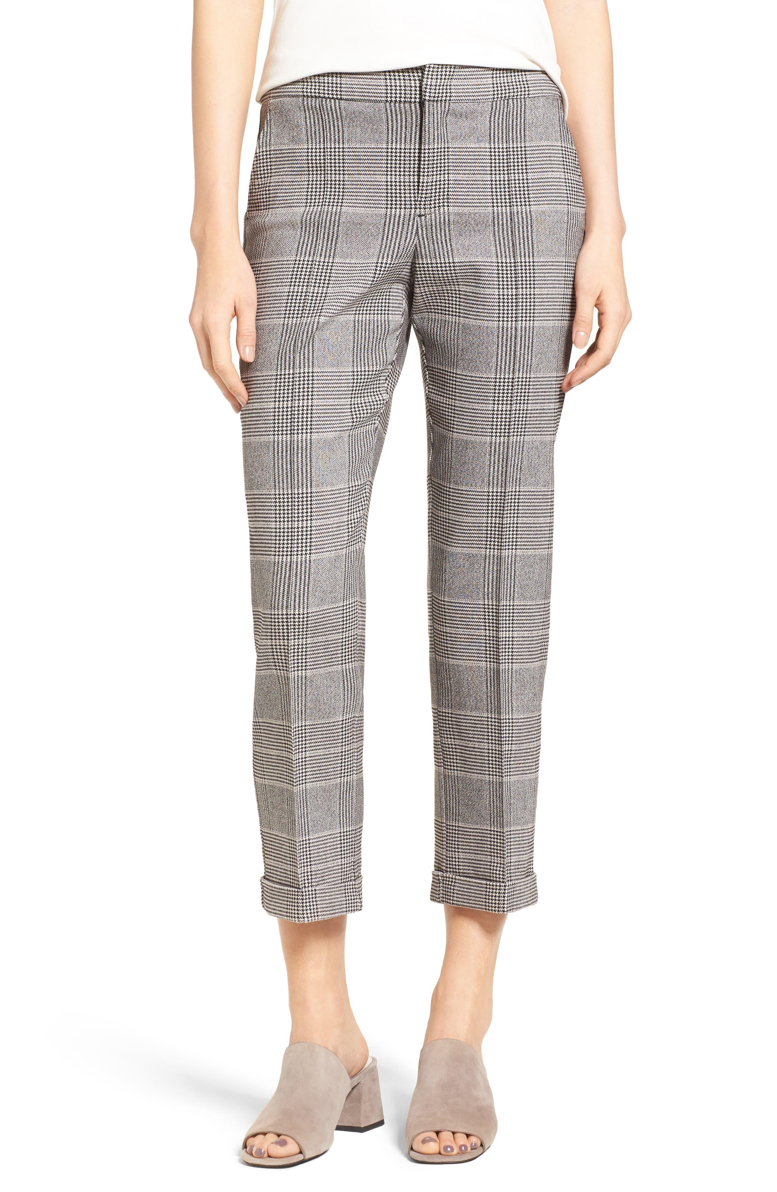 Denise Glen Plaid Cuff Slim Ankle Pants,                         Main,                         color, 001