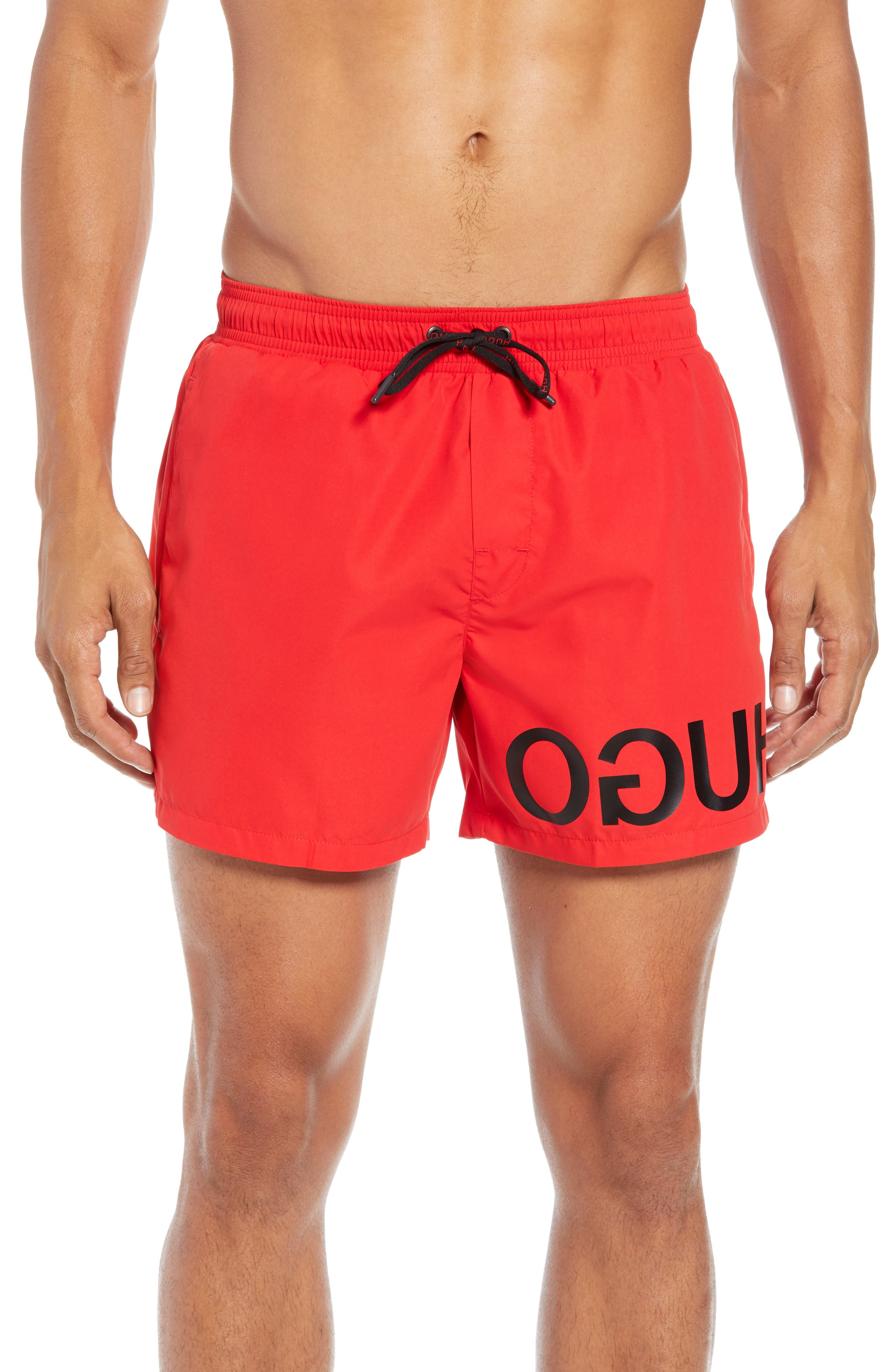 HUGO Martinique Regular Fit Logo Short Swim Trunks in Red
