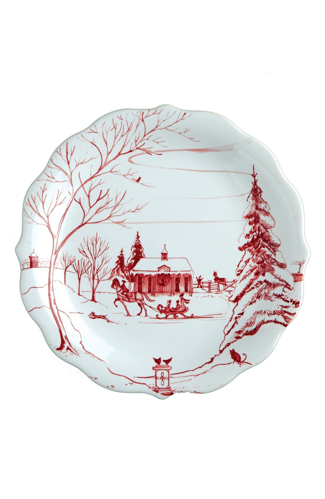 'Country Estate Ruby' Ceramic Party Plates,                             Alternate thumbnail 4, color,                             RUBY