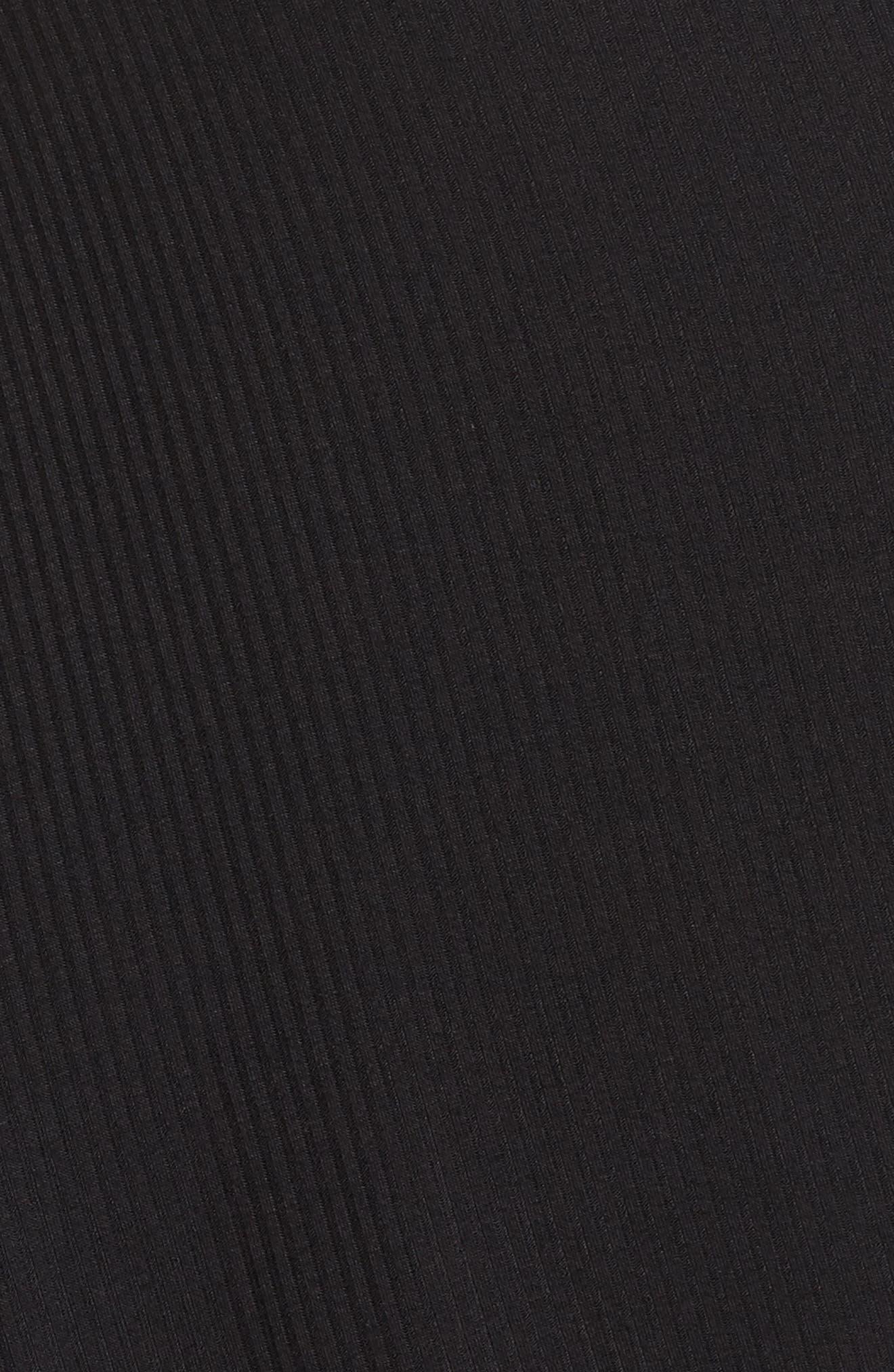 Drape Front Ribbed Cardigan,                             Alternate thumbnail 5, color,                             001