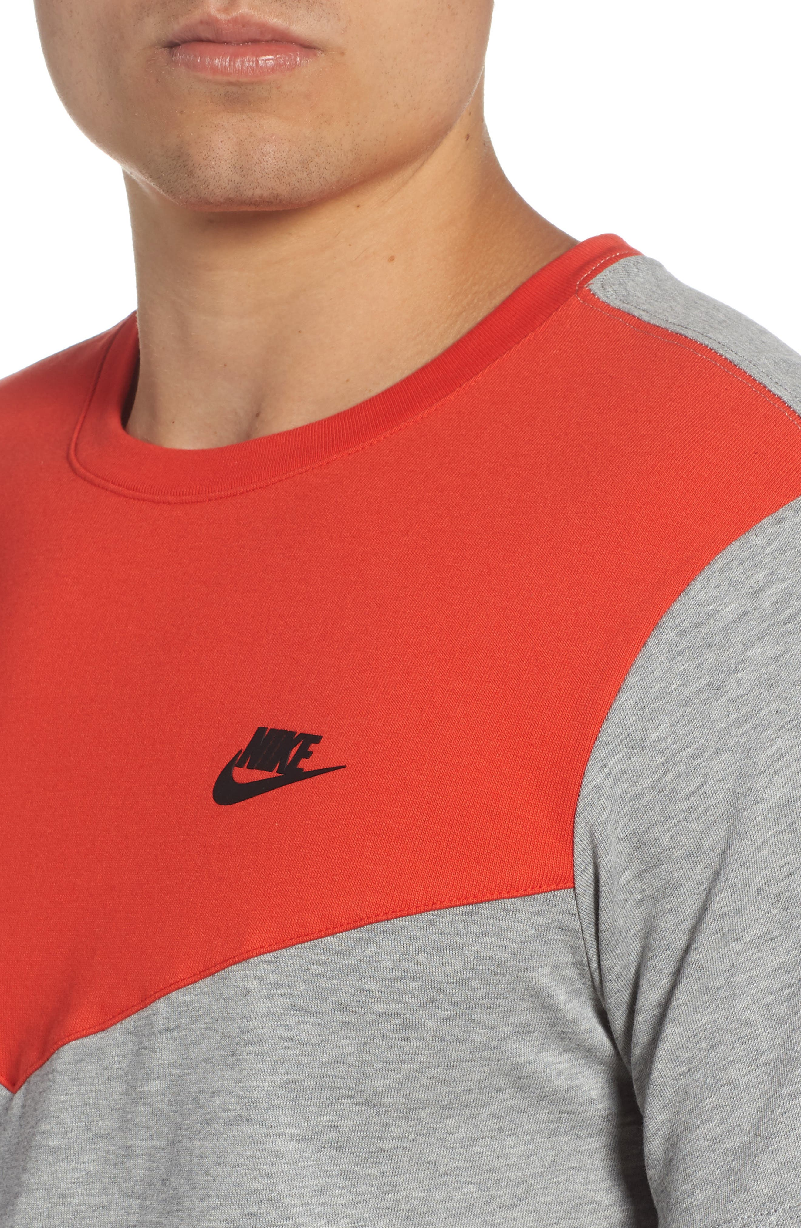 Windrunner Colorblocked T-Shirt,                             Alternate thumbnail 4, color,                             HABANERO RED/ HEATHER/ BLACK