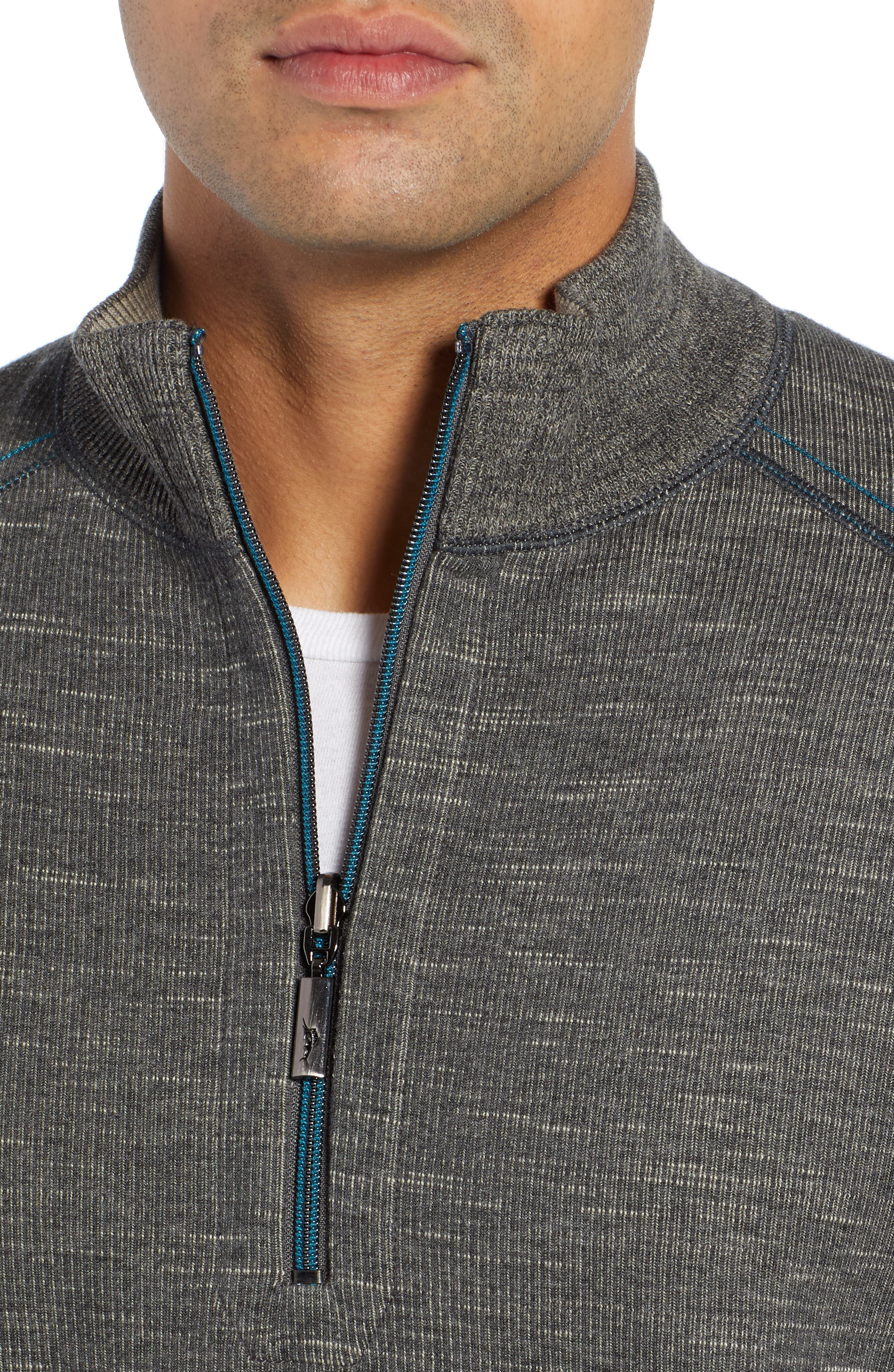 Flipsider Reversible Quarter-Zip Pullover,                             Alternate thumbnail 5, color,                             ONYX HEATHER