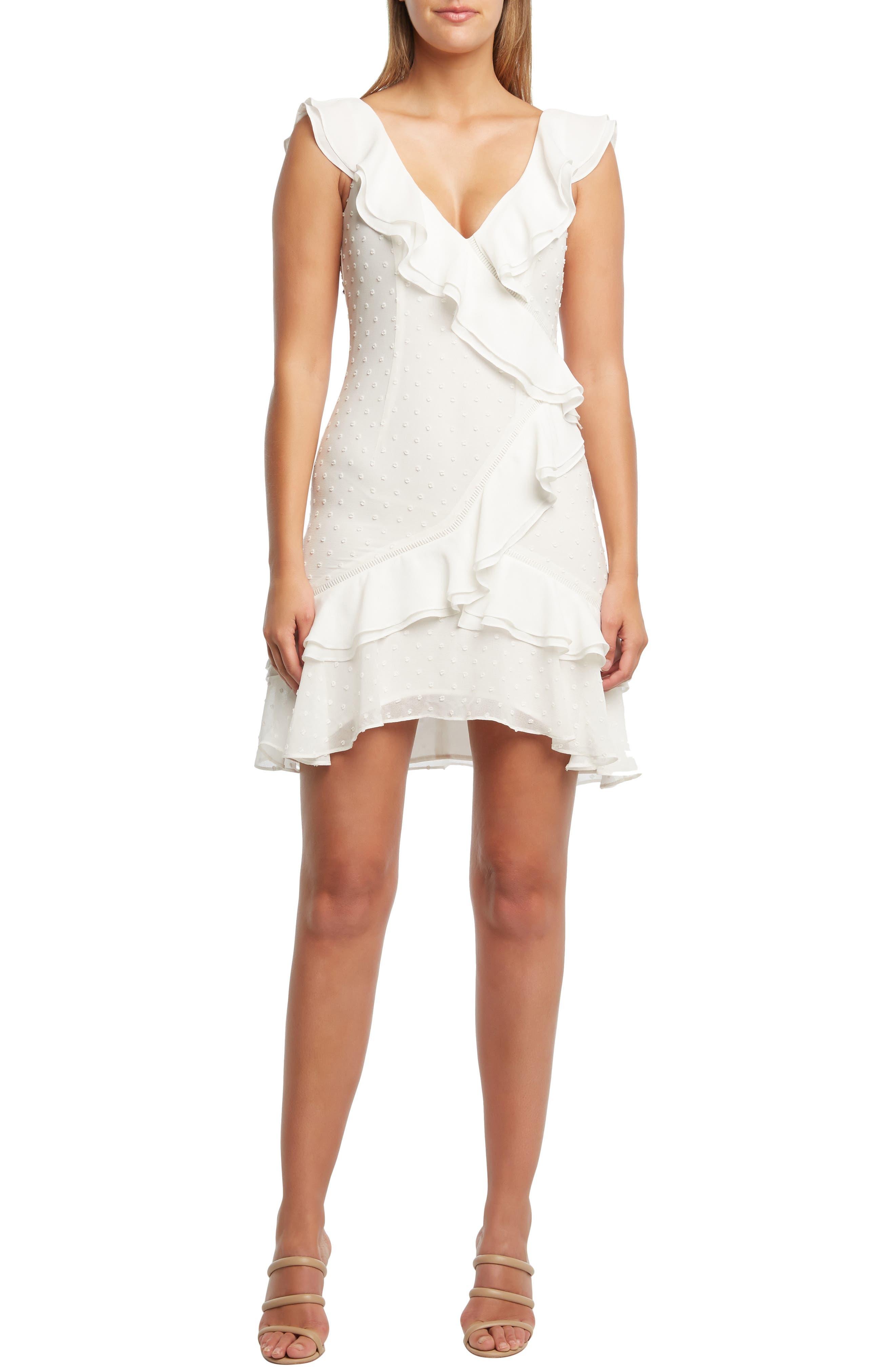 Bardot Paige Ruffle Sheath Dress, Ivory