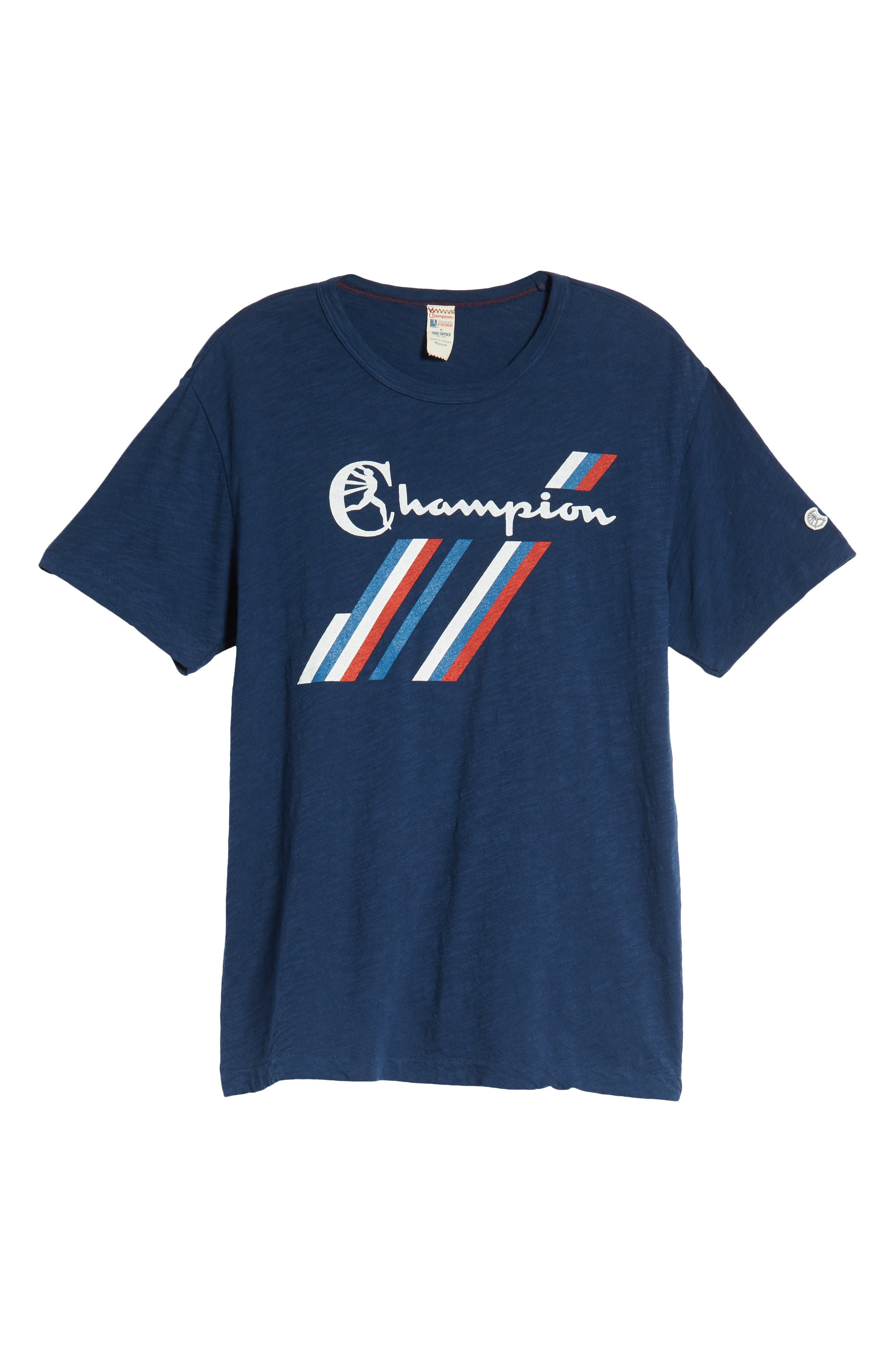 + Champion Stripe Graphic T-Shirt,                             Alternate thumbnail 6, color,                             MARINE