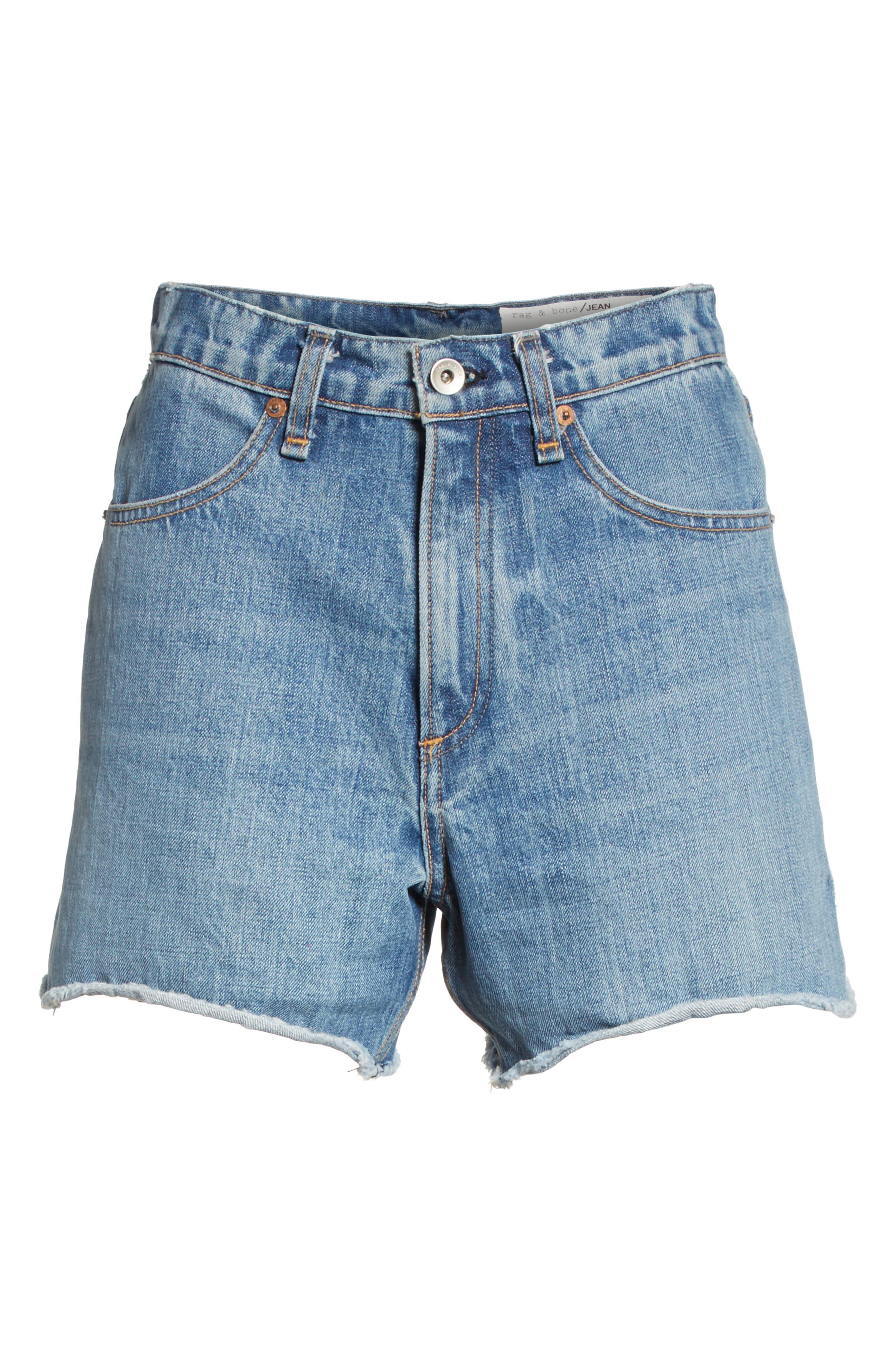 Torti High Waist Denim Shorts,                             Alternate thumbnail 6, color,                             400