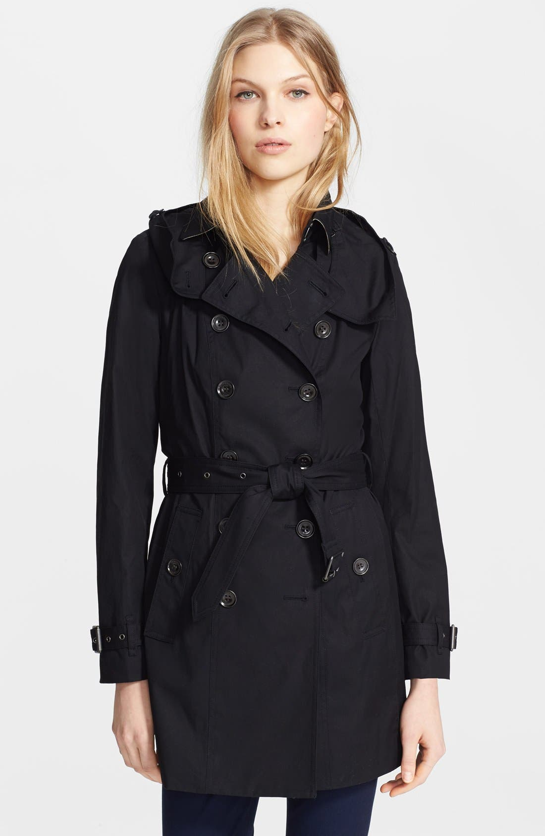 'Reymoore' Trench Coat with Detachable Hood,                             Main thumbnail 1, color,                             001
