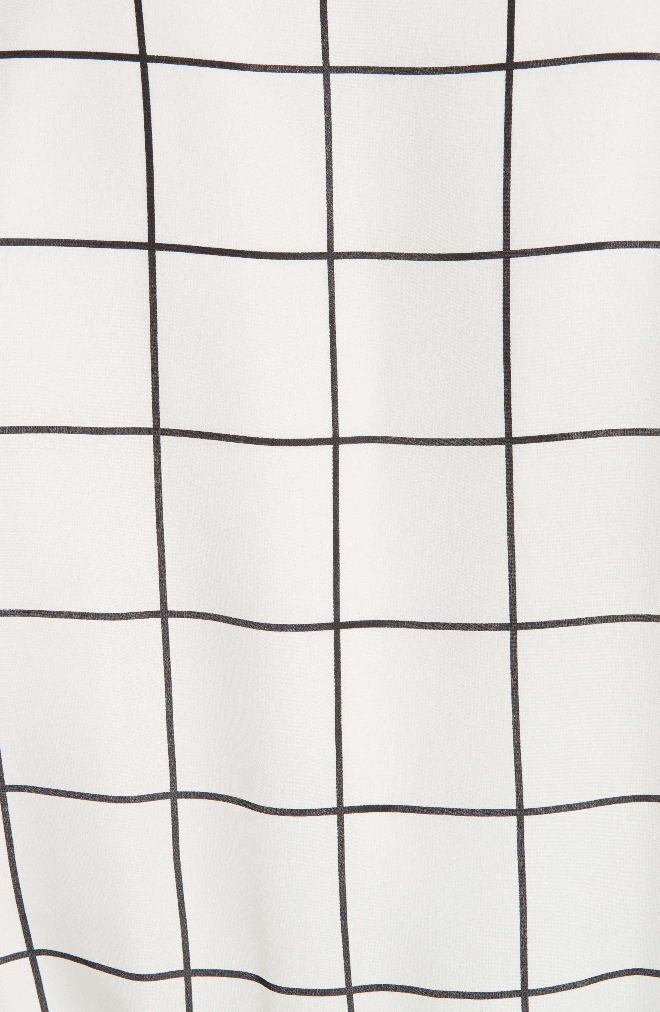 Check Silk Top,                             Alternate thumbnail 5, color,                             WHITE/ BLACK