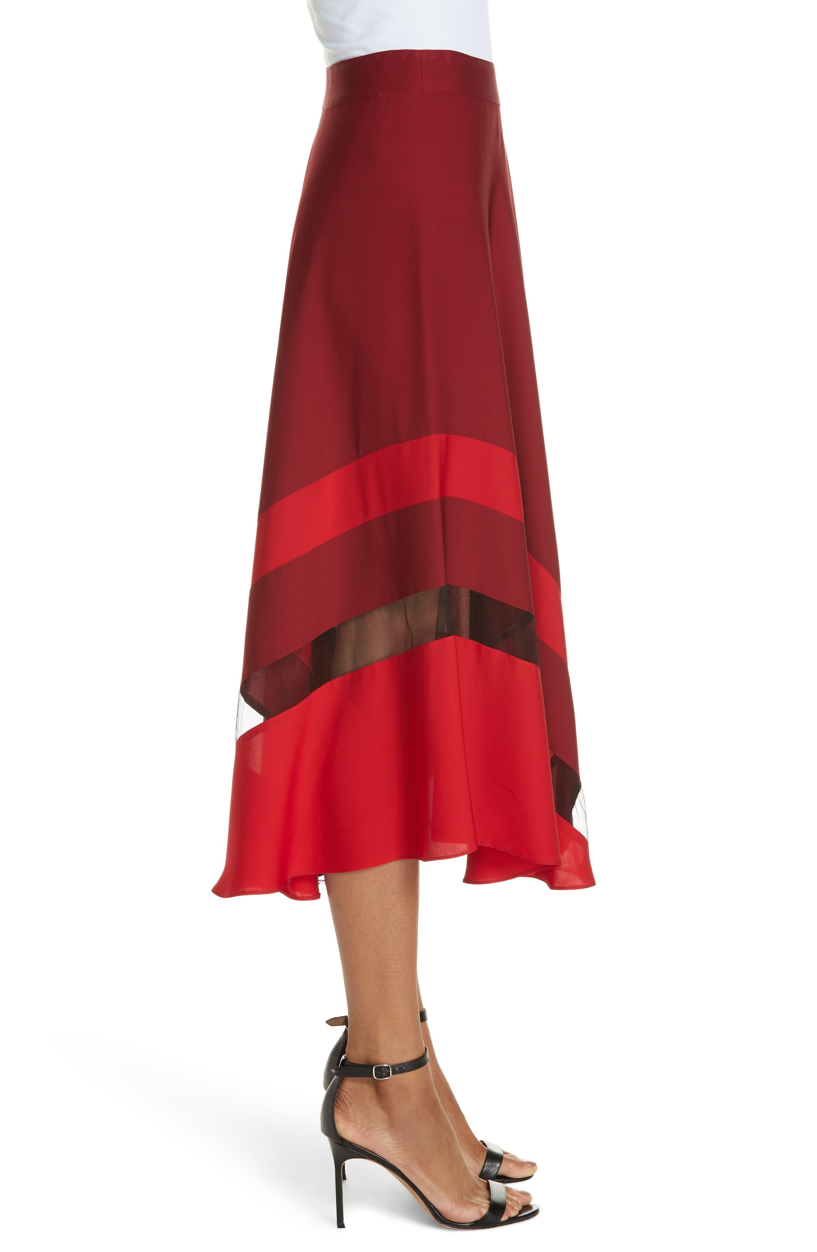 Asymmetrical Stripe Stretch Silk Midi Skirt,                             Alternate thumbnail 3, color,                             BURGUNDY/ RUBY
