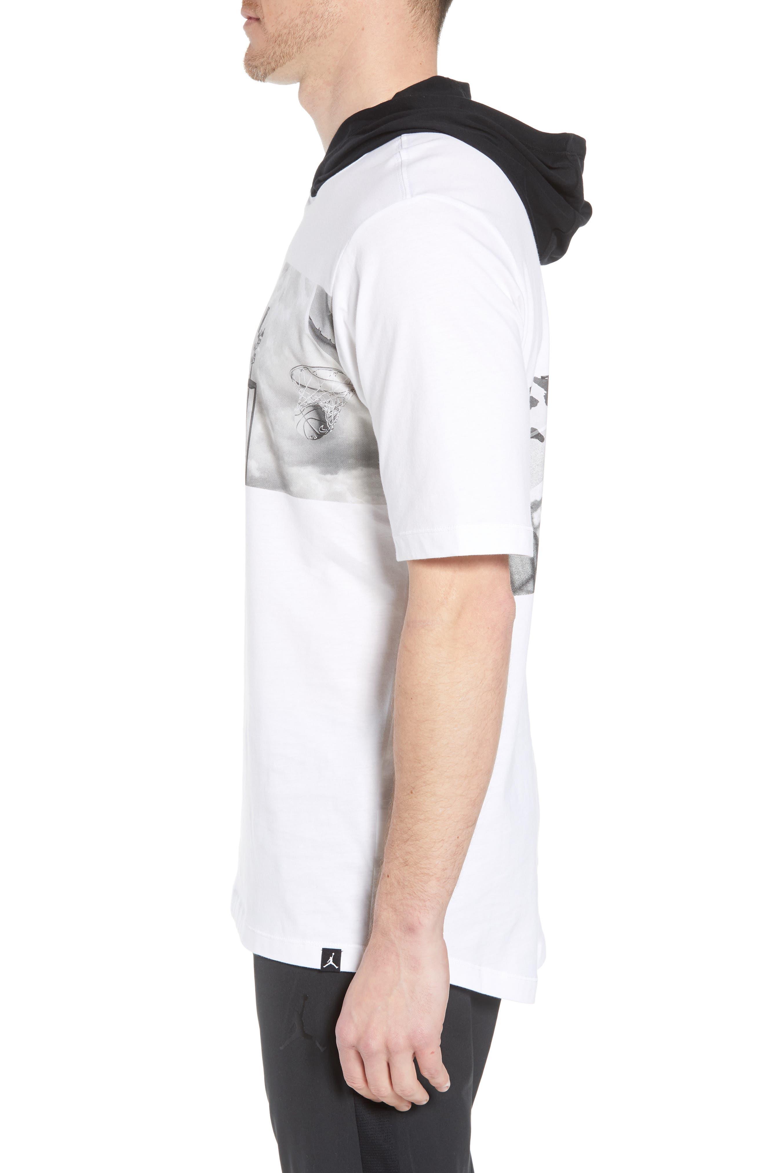 Modern Photo Hooded T-Shirt,                             Alternate thumbnail 3, color,                             WHITE/ BLACK