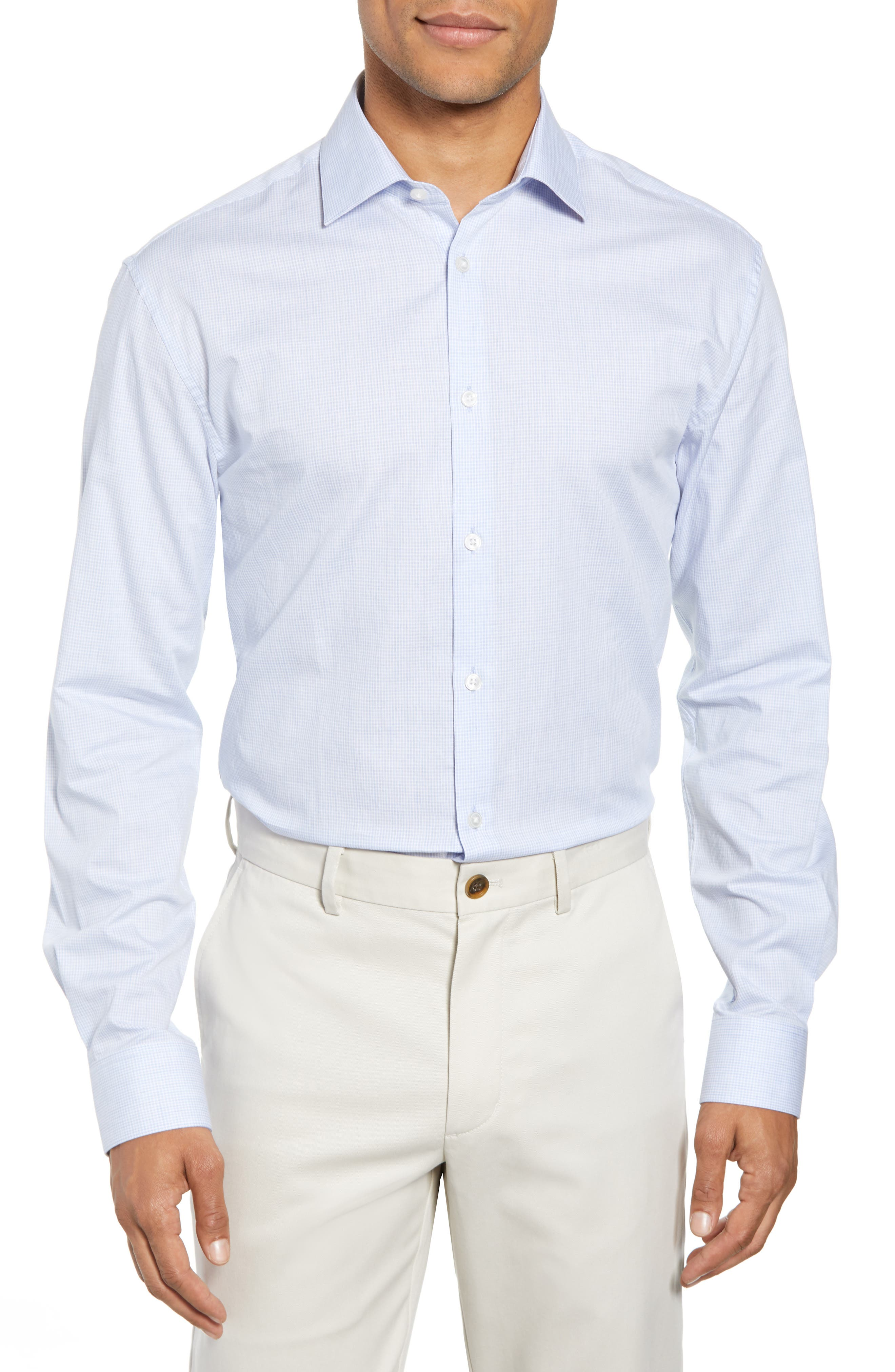 Slim Fit Check Dress Shirt,                         Main,                         color, LIGHT BLUE