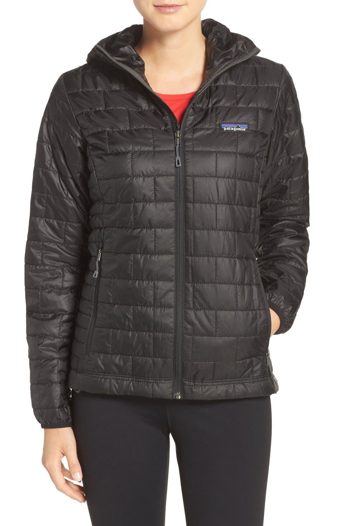 Nano Puff<sup>®</sup> Hooded Water Resistant Jacket,                             Main thumbnail 1, color,                             BLACK