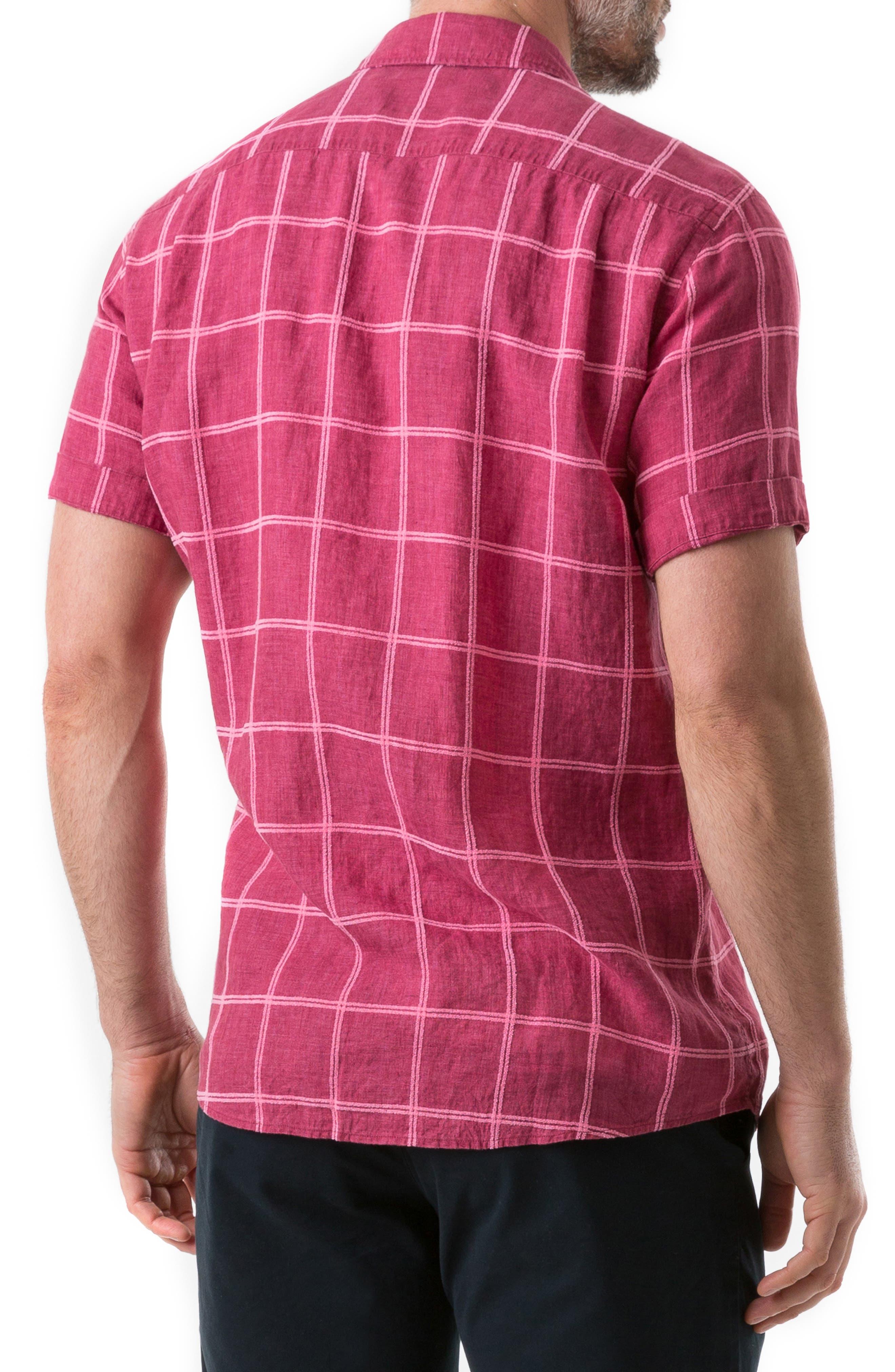 New Windsor Regular Fit Check Linen Blend Sport Shirt,                             Alternate thumbnail 2, color,                             MAGENTA