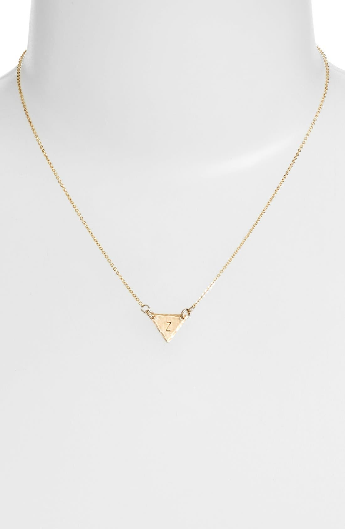 14k-Gold Fill Initial Triangle Necklace,                             Alternate thumbnail 52, color,
