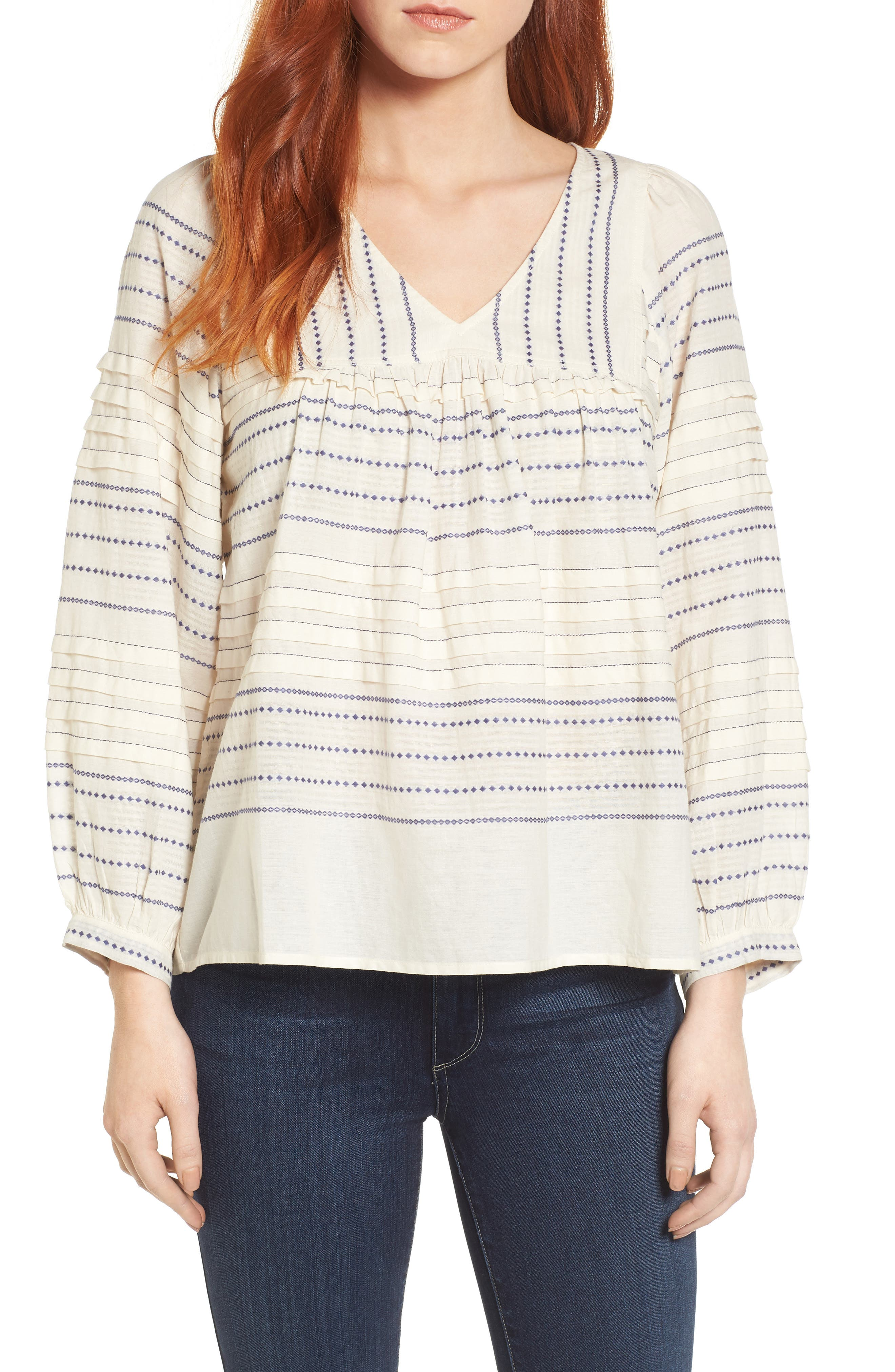 Paros Embroidered Cotton Peasant Blouse,                         Main,                         color, 906
