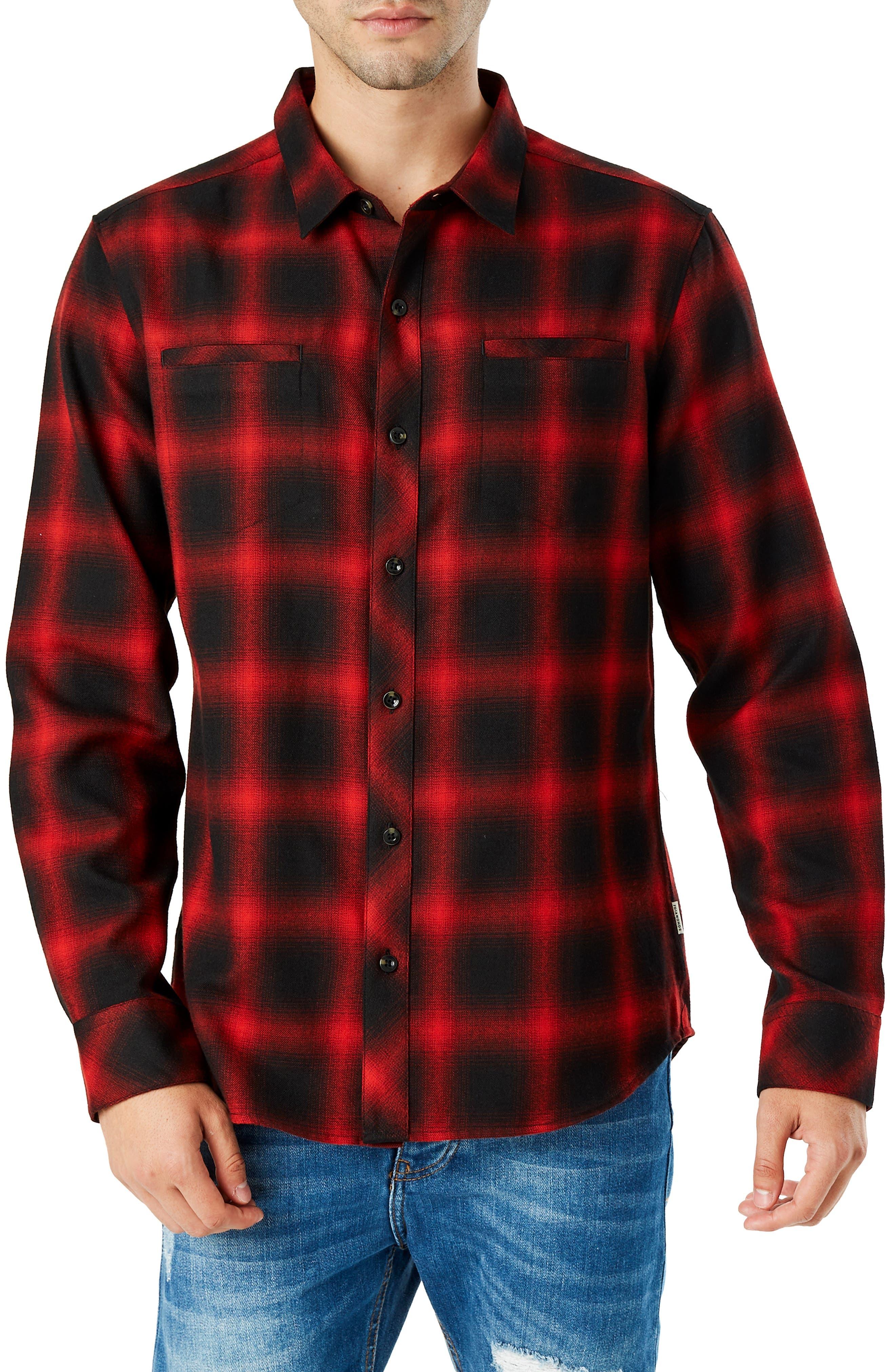 Falcon Slim Fit Check Sport Shirt,                             Main thumbnail 1, color,                             RED