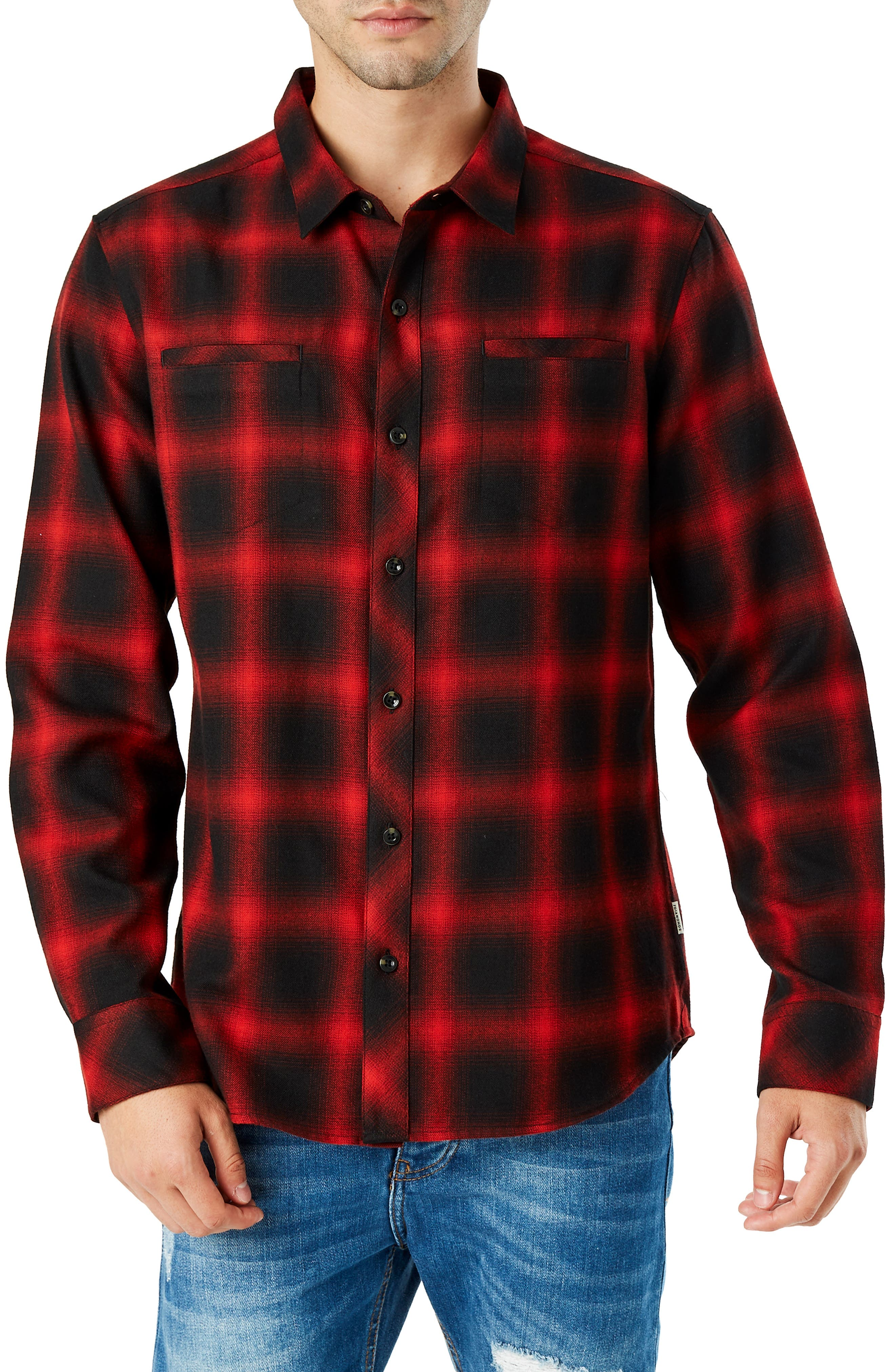 Falcon Slim Fit Check Sport Shirt,                         Main,                         color, RED