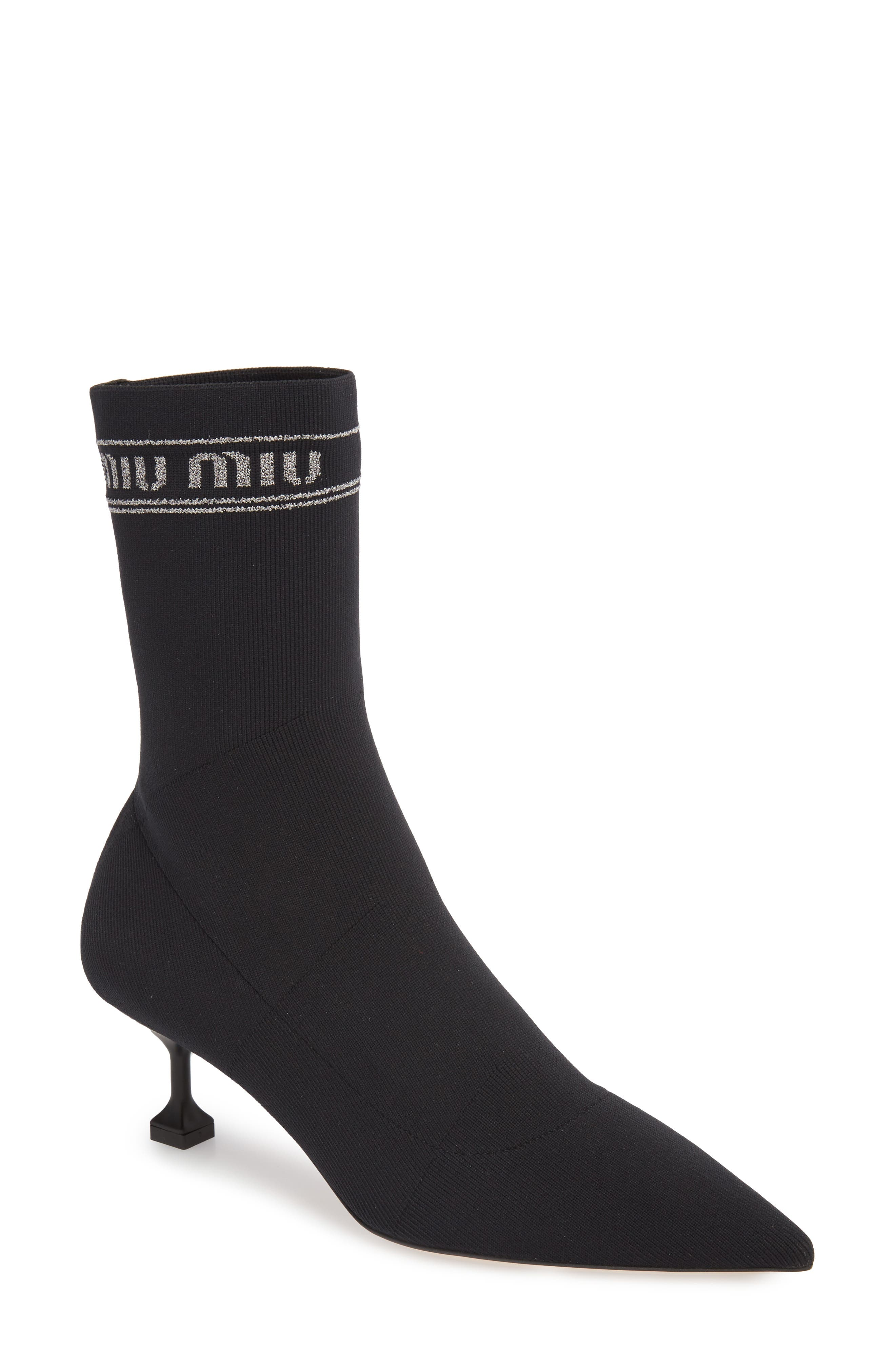 Logo Sock Bootie,                             Main thumbnail 1, color,                             BLACK