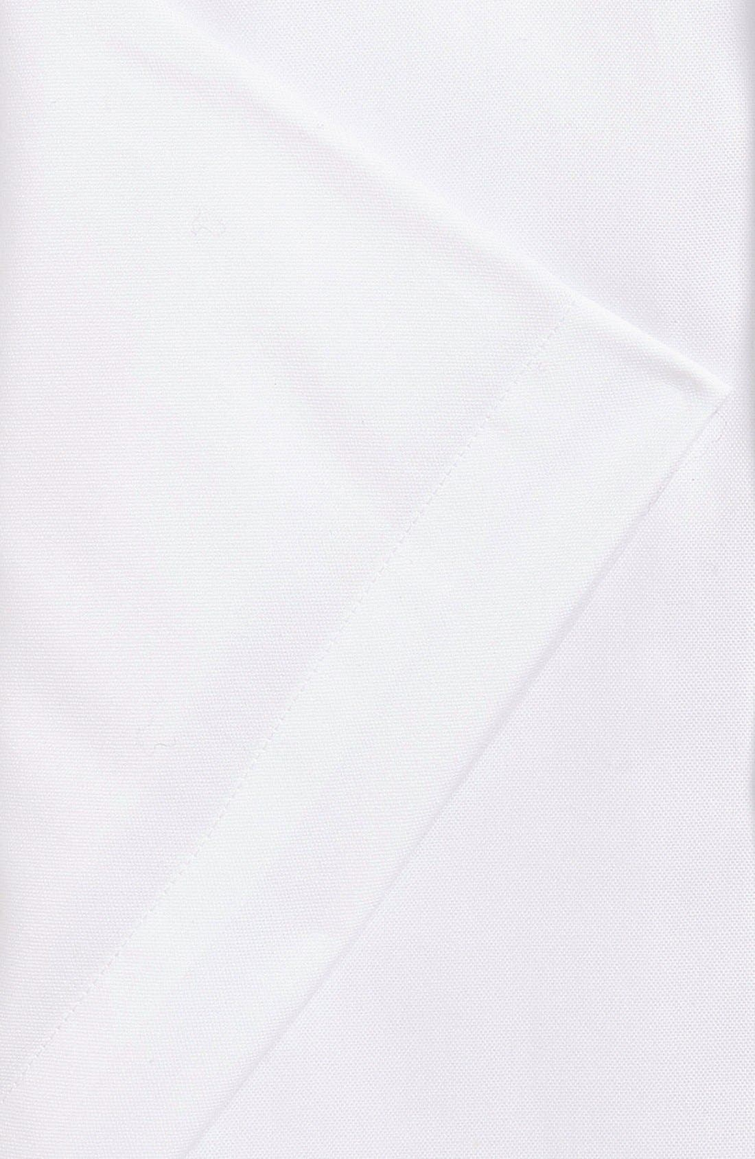 Traditional Fit Non-Iron Solid Short Sleeve Dress Shirt,                             Alternate thumbnail 5, color,                             WHITE
