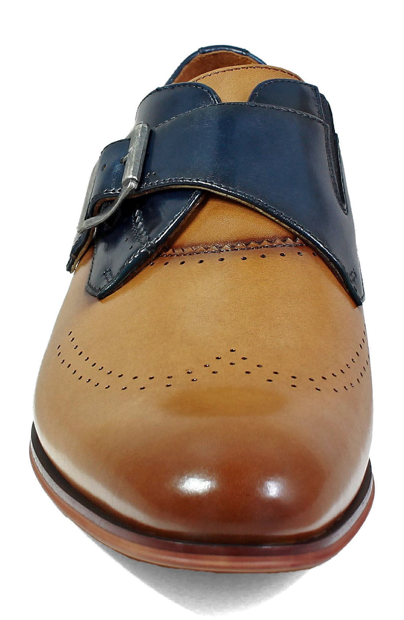 STACY ADAMS,                             Saxton Perforated Monk Strap Shoe,                             Alternate thumbnail 4, color,                             TAN/ NAVY LEATHER