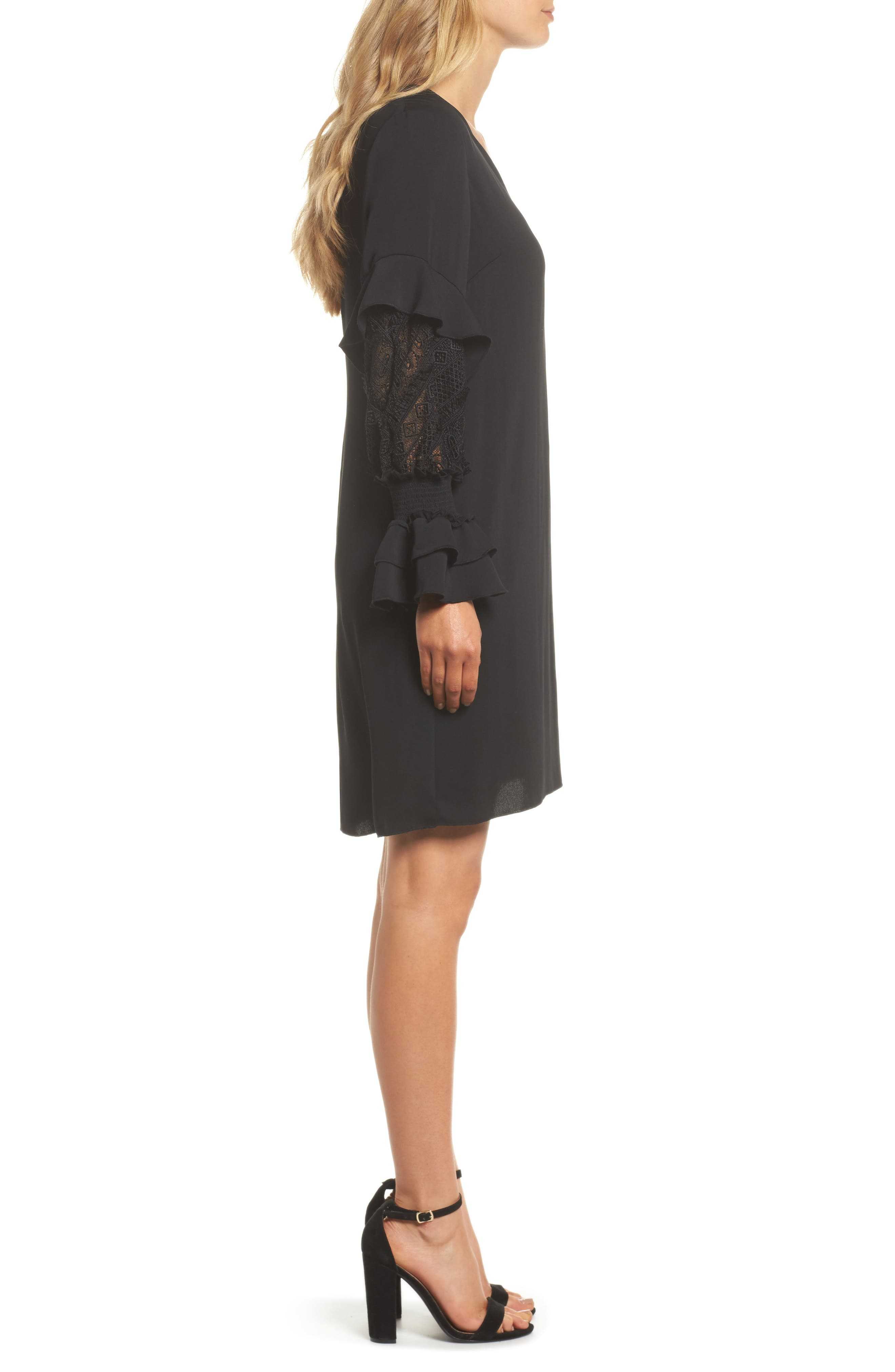 Alda Lace Sleeve Shift Dress,                             Alternate thumbnail 3, color,                             001