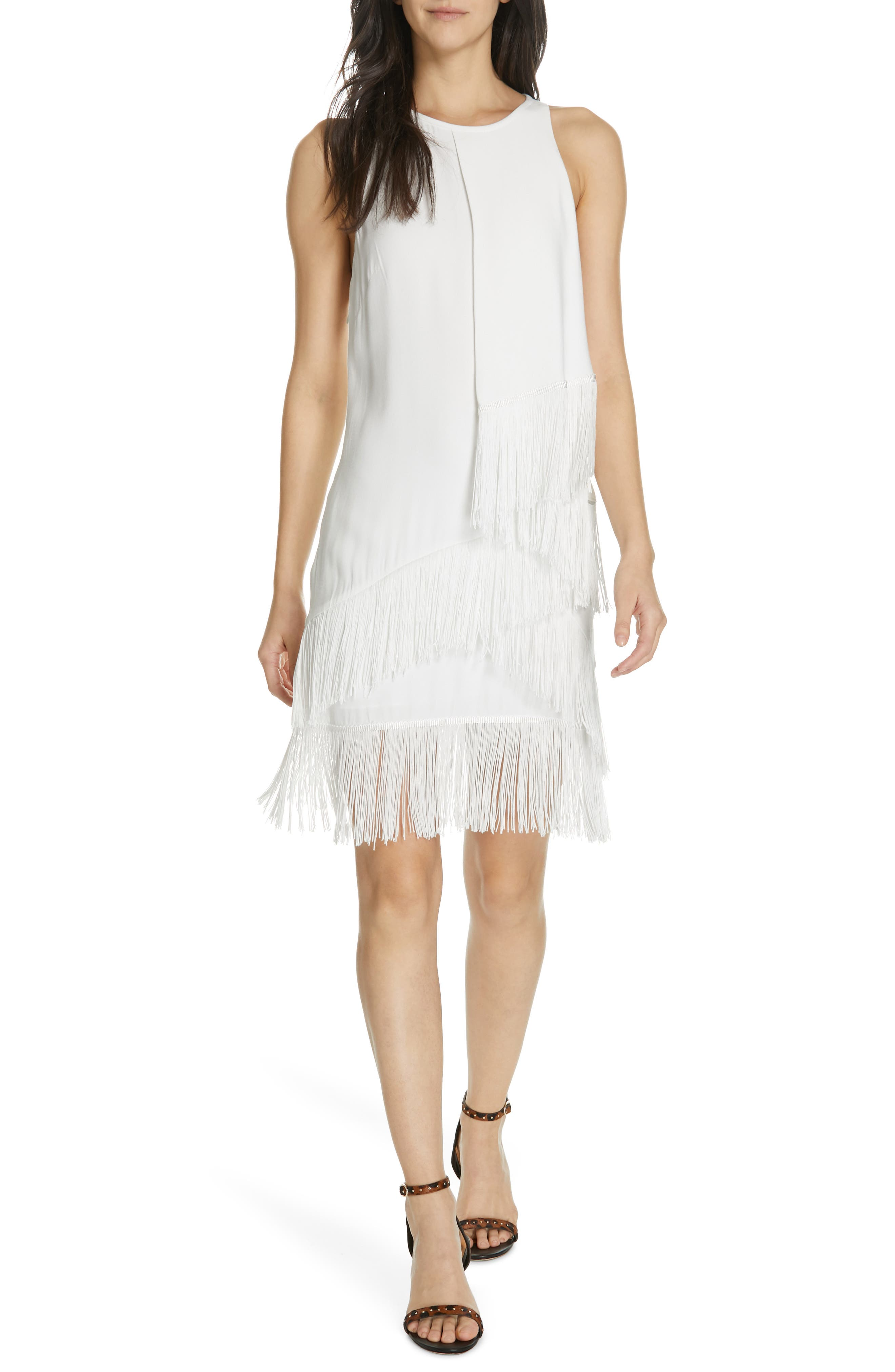 Joie Amiyah Tiered Fringe Dress, White