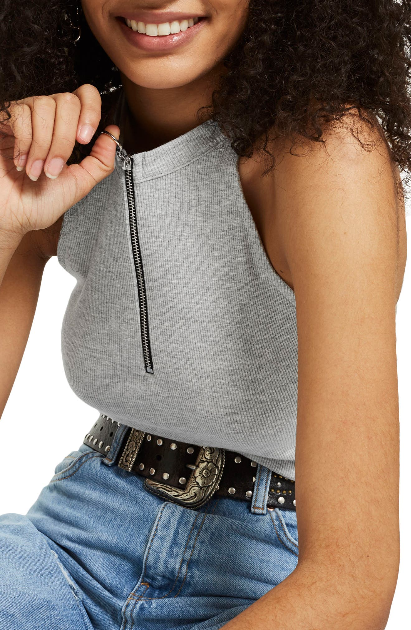 Zip Front Bodysuit,                         Main,                         color, GREY MARL