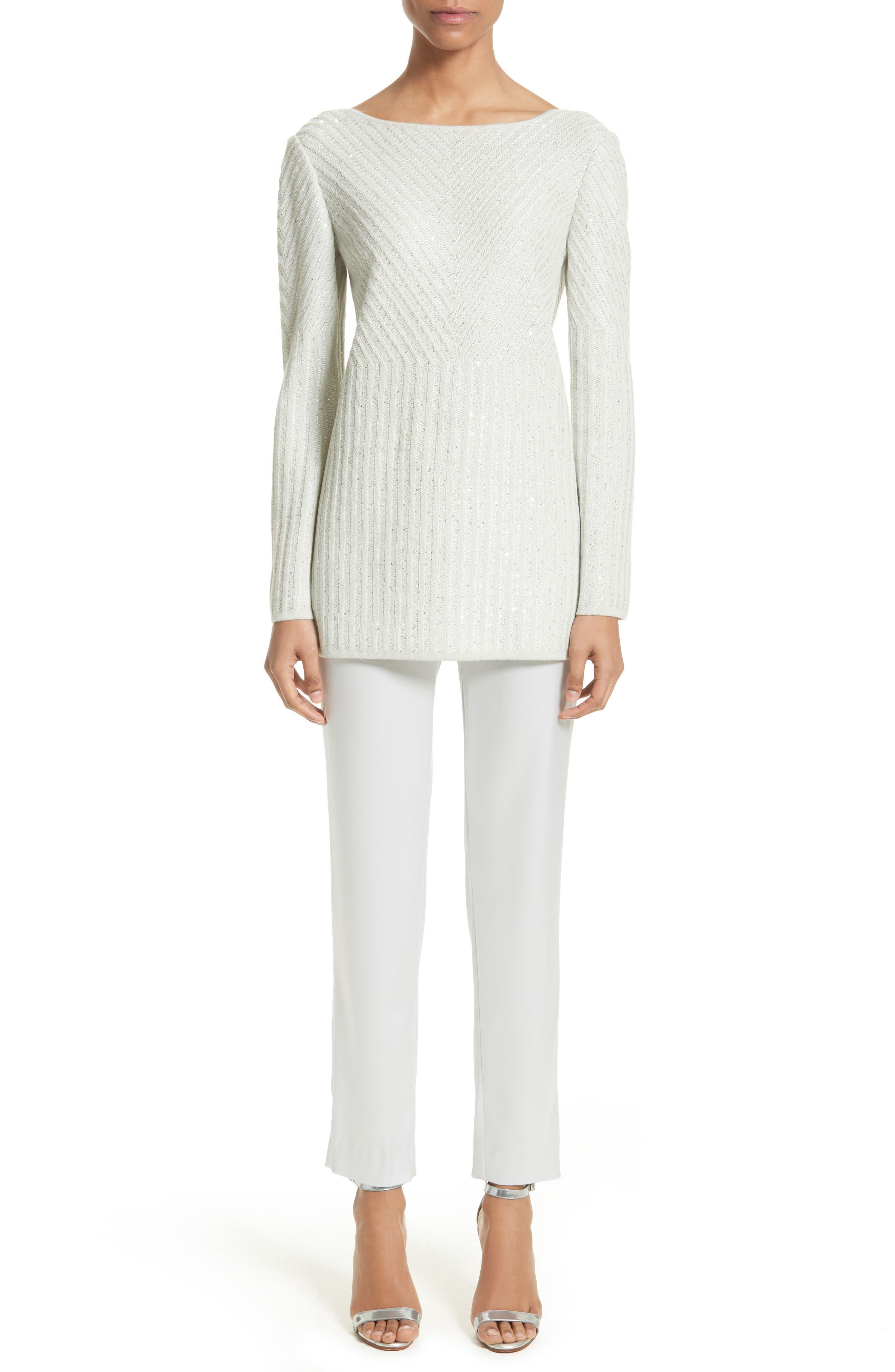 Sparkle Engineered Rib Sweater,                             Alternate thumbnail 6, color,                             050