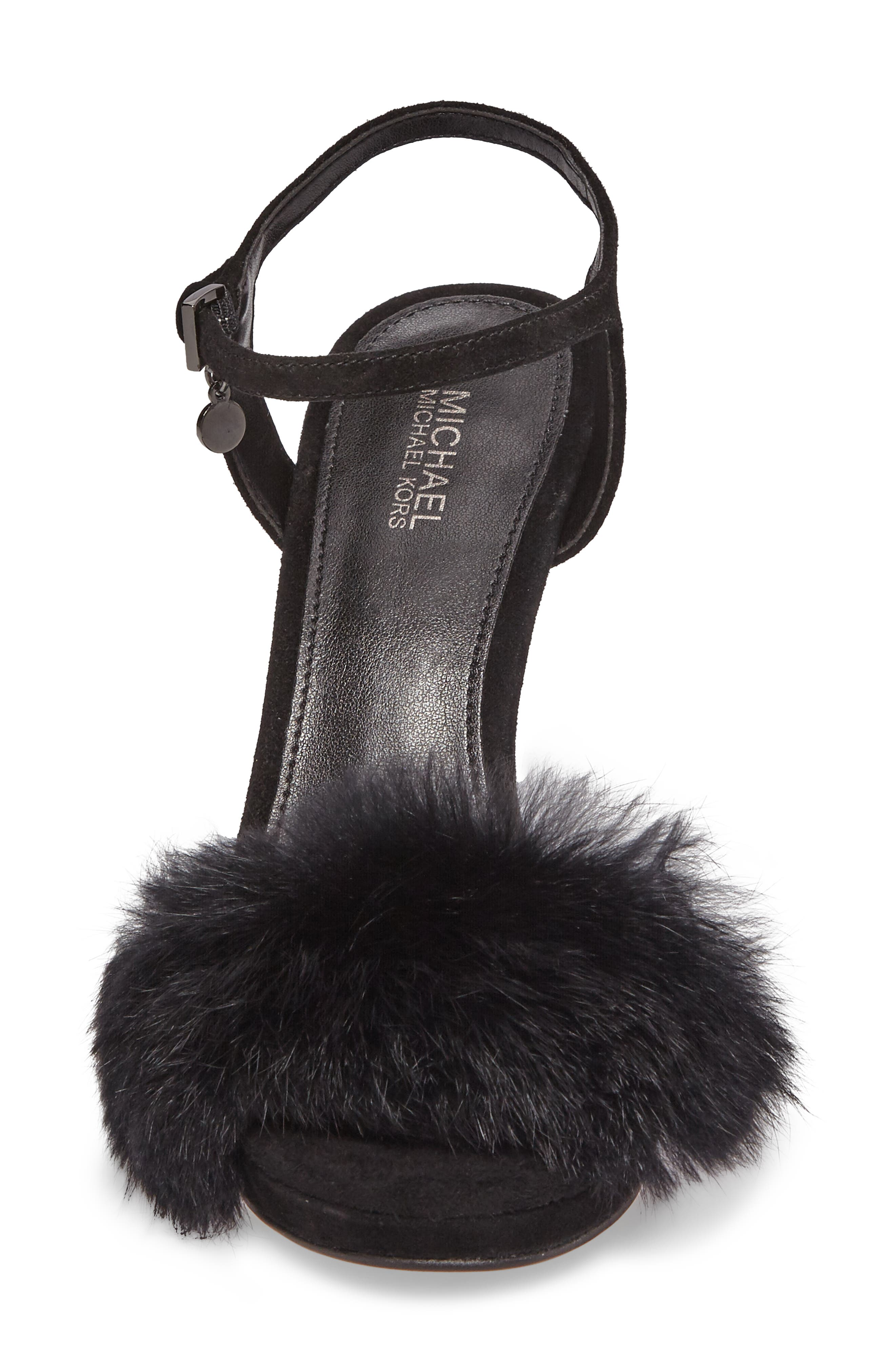 Faye Genuine Rabbit Fur Sandal,                             Alternate thumbnail 4, color,                             001