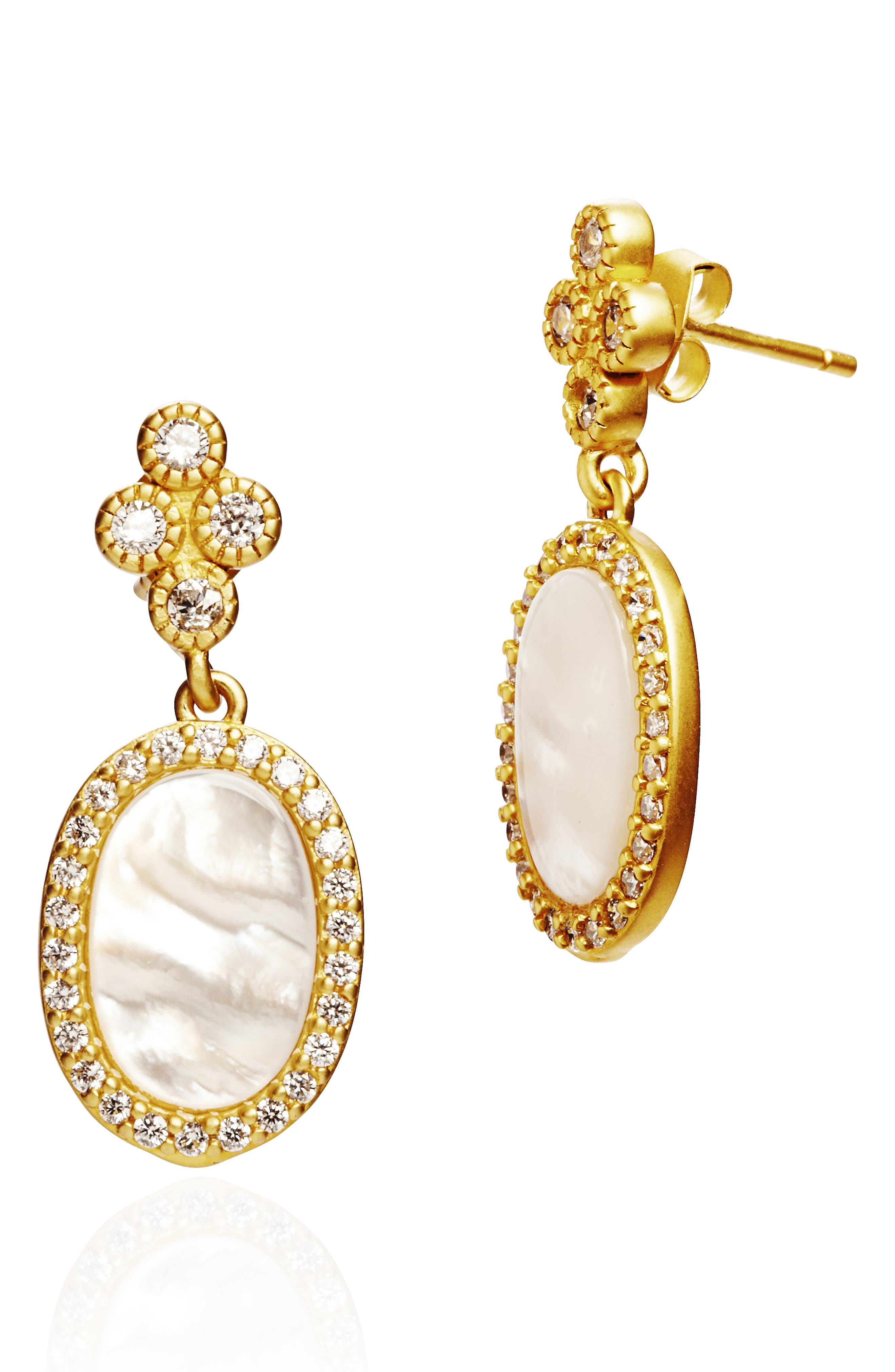 Color Theory Pave Oval Drop Earrings in Gold/ Mother Of Pearl