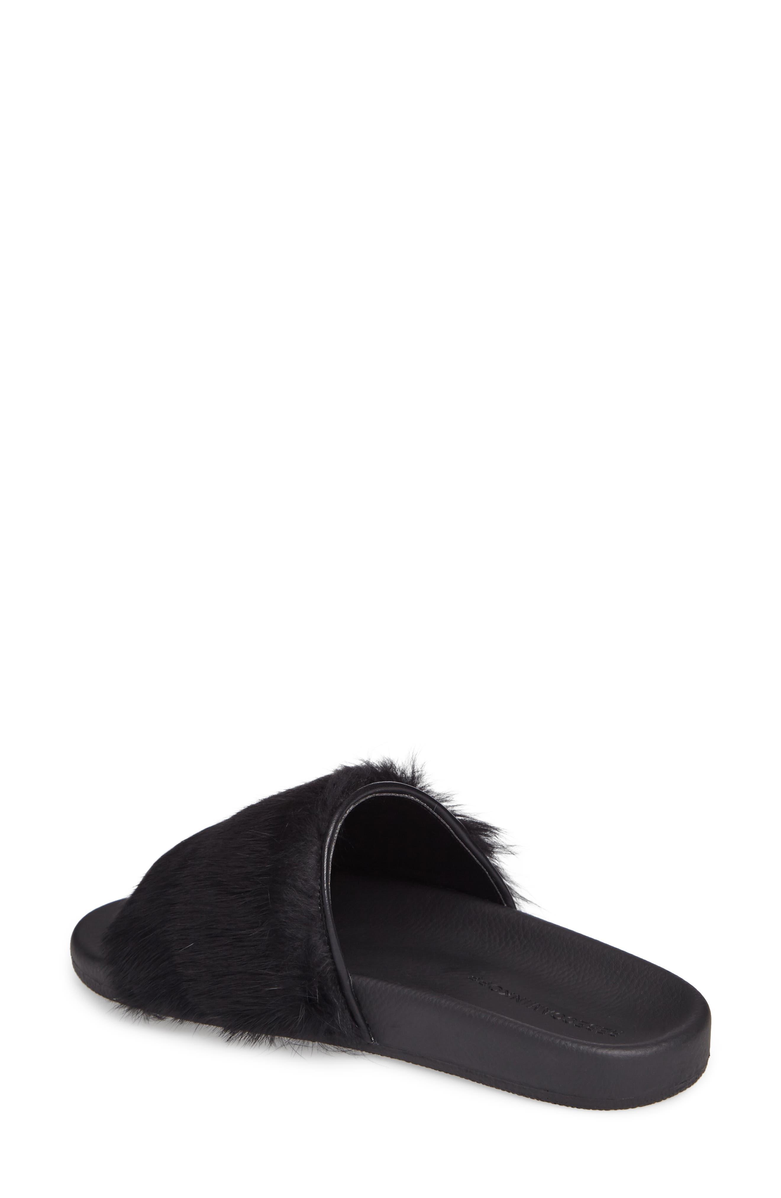 Sammi Genuine Fur Slide Sandal,                             Alternate thumbnail 2, color,                             001