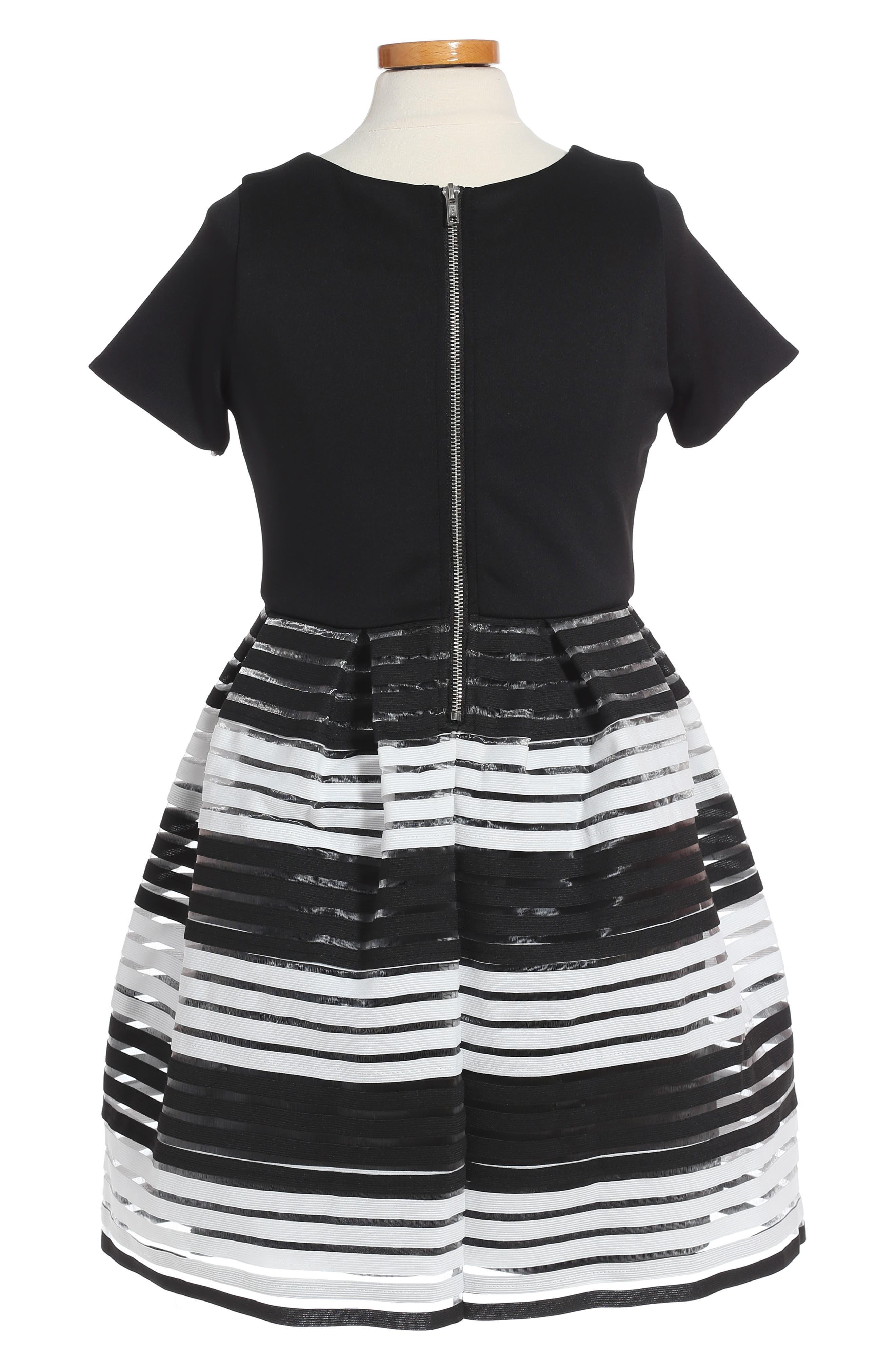 Elastic Stripe Dress,                             Alternate thumbnail 2, color,                             001