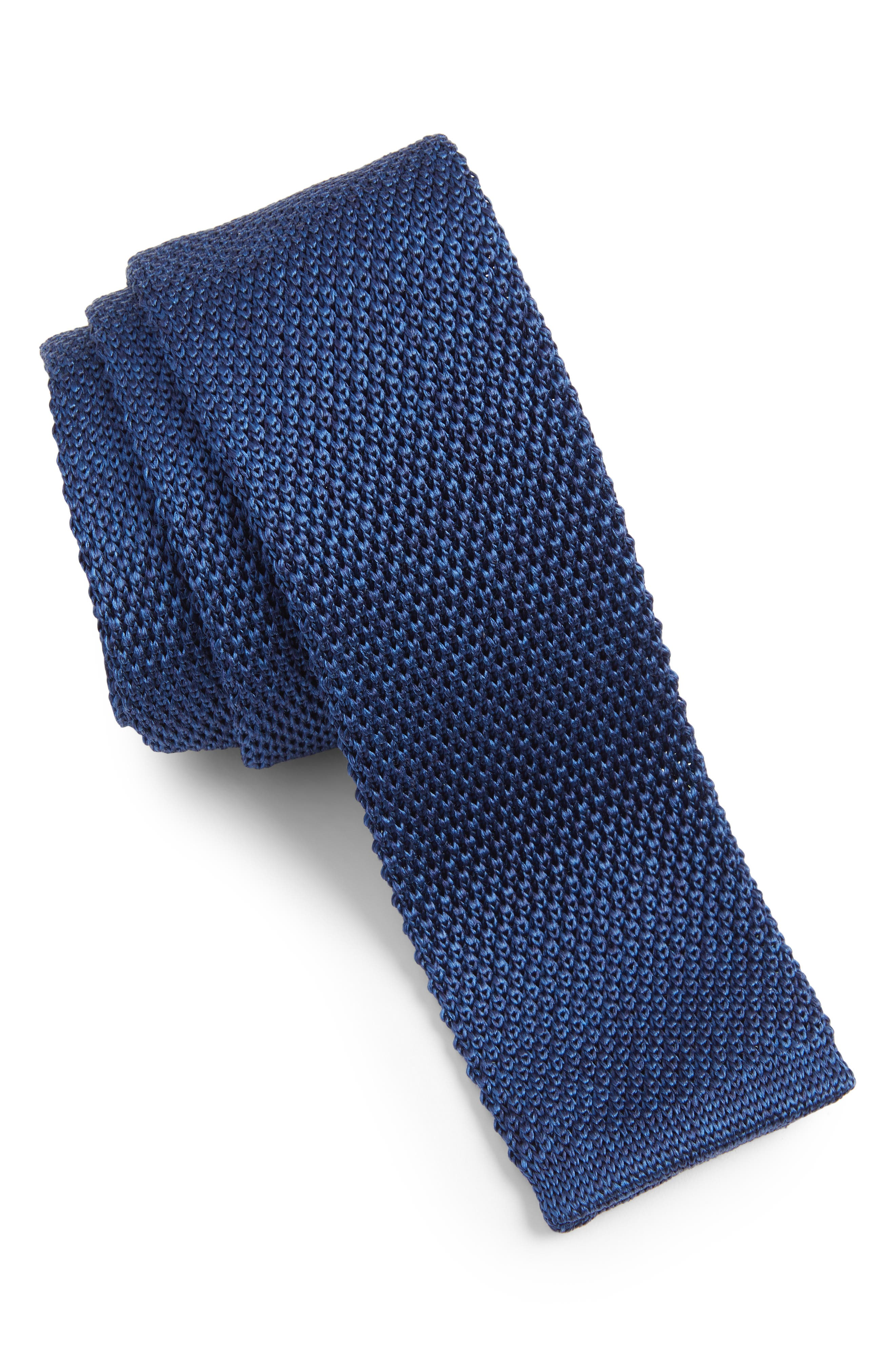 Solid Knit Silk Tie,                             Main thumbnail 1, color,                             OPEN BLUE