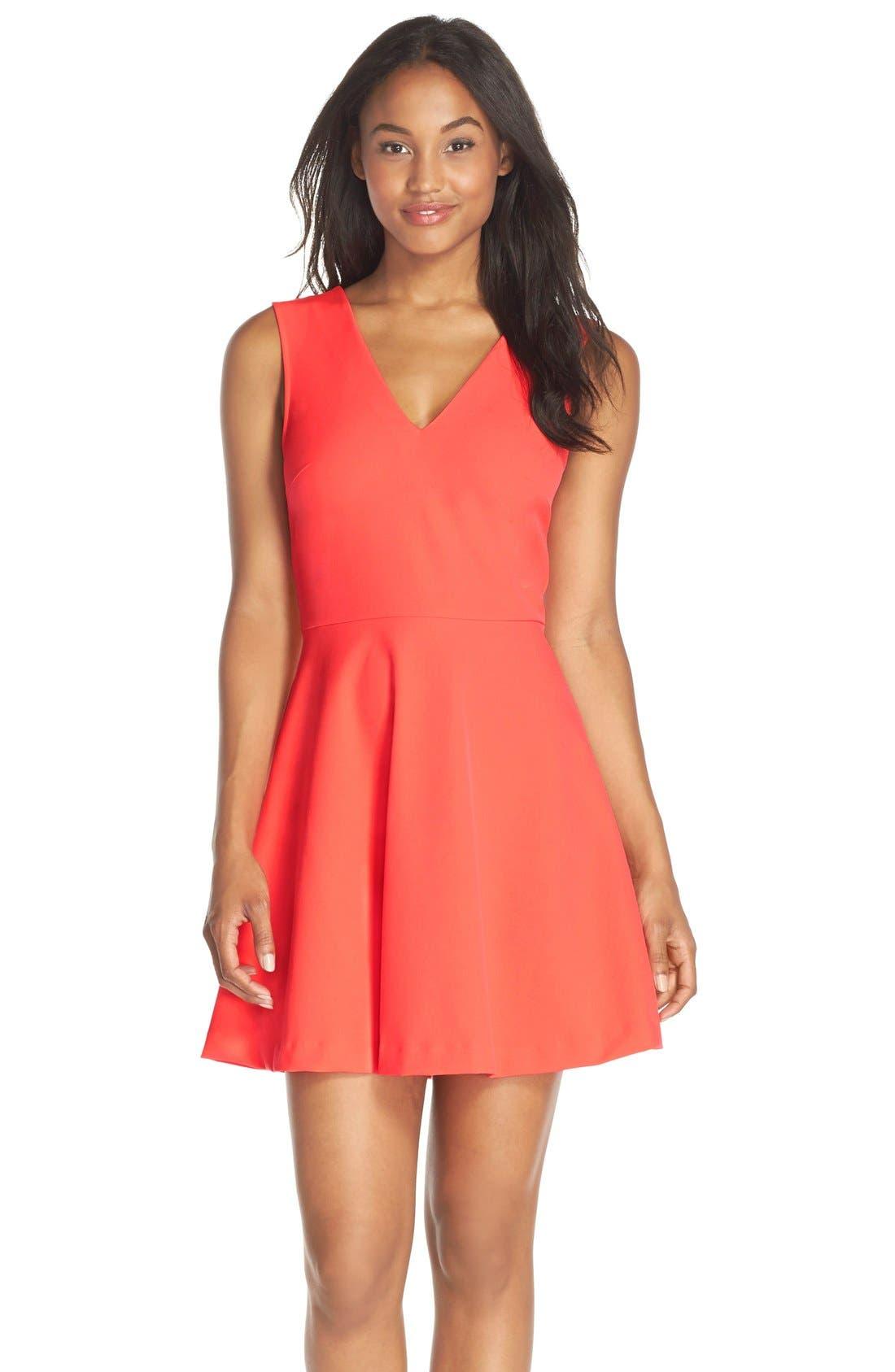 Bianca Back Cutout Fit & Flare Dress,                             Main thumbnail 16, color,