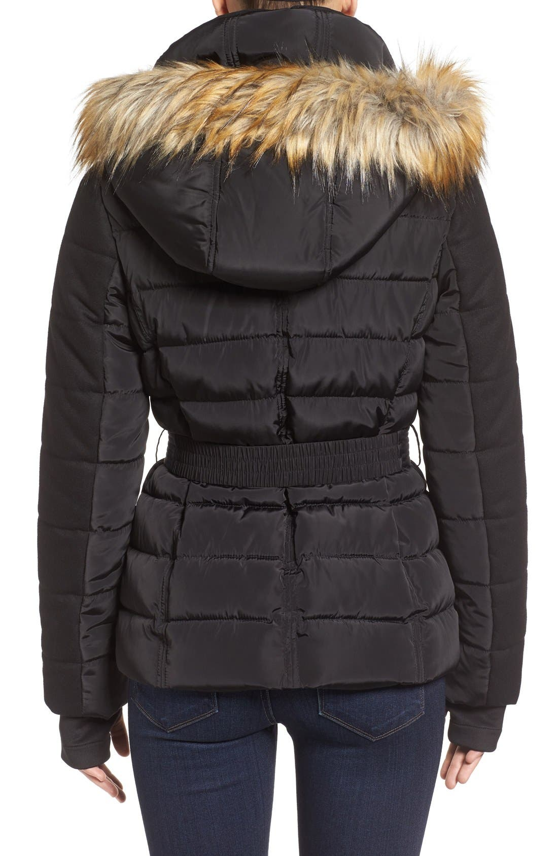 Belted Quilted Jacket with Faux Fur Trim,                             Alternate thumbnail 2, color,                             001