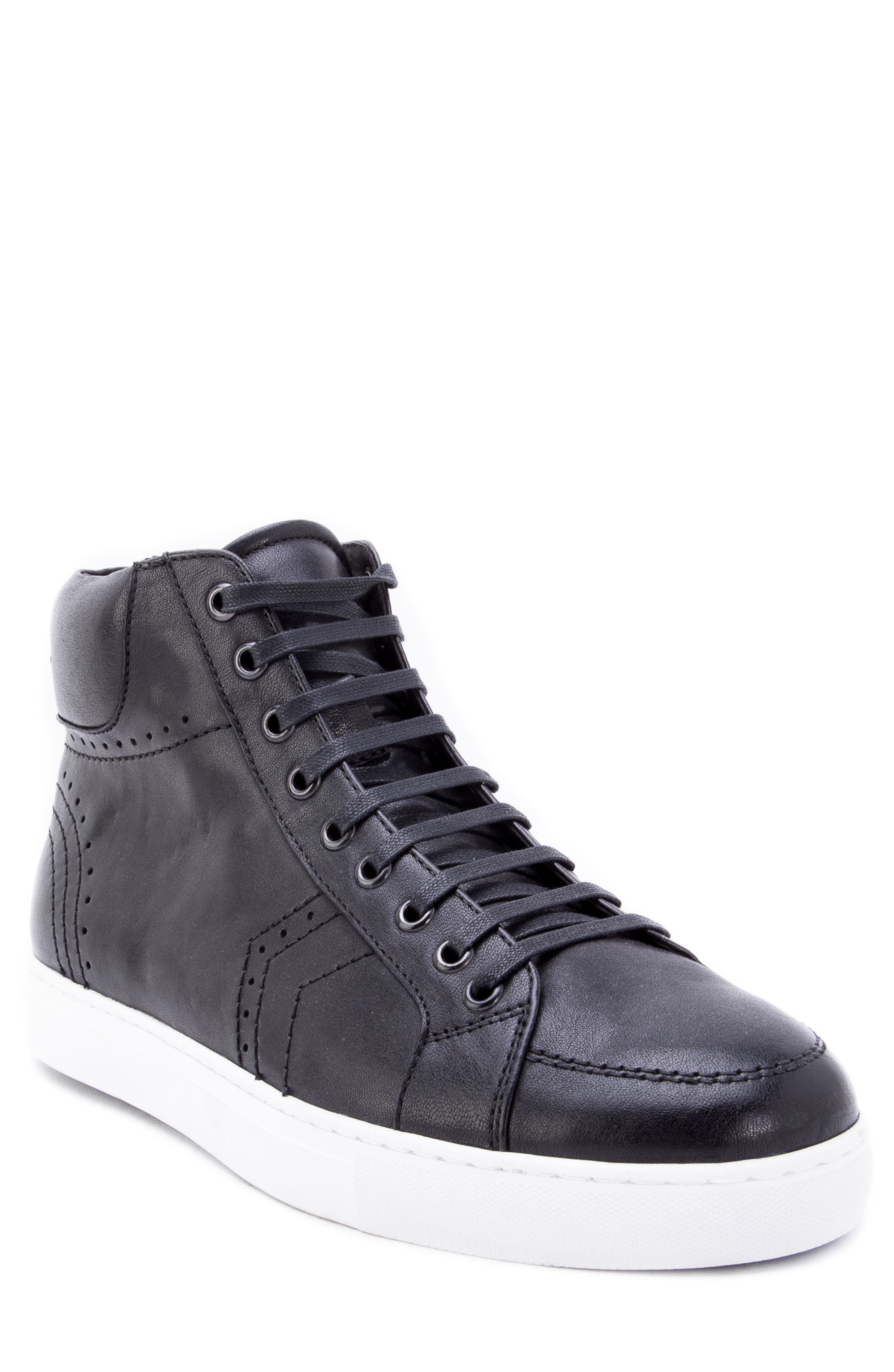 Uglow Perforated High Top Sneaker,                         Main,                         color, BLACK LEATHER