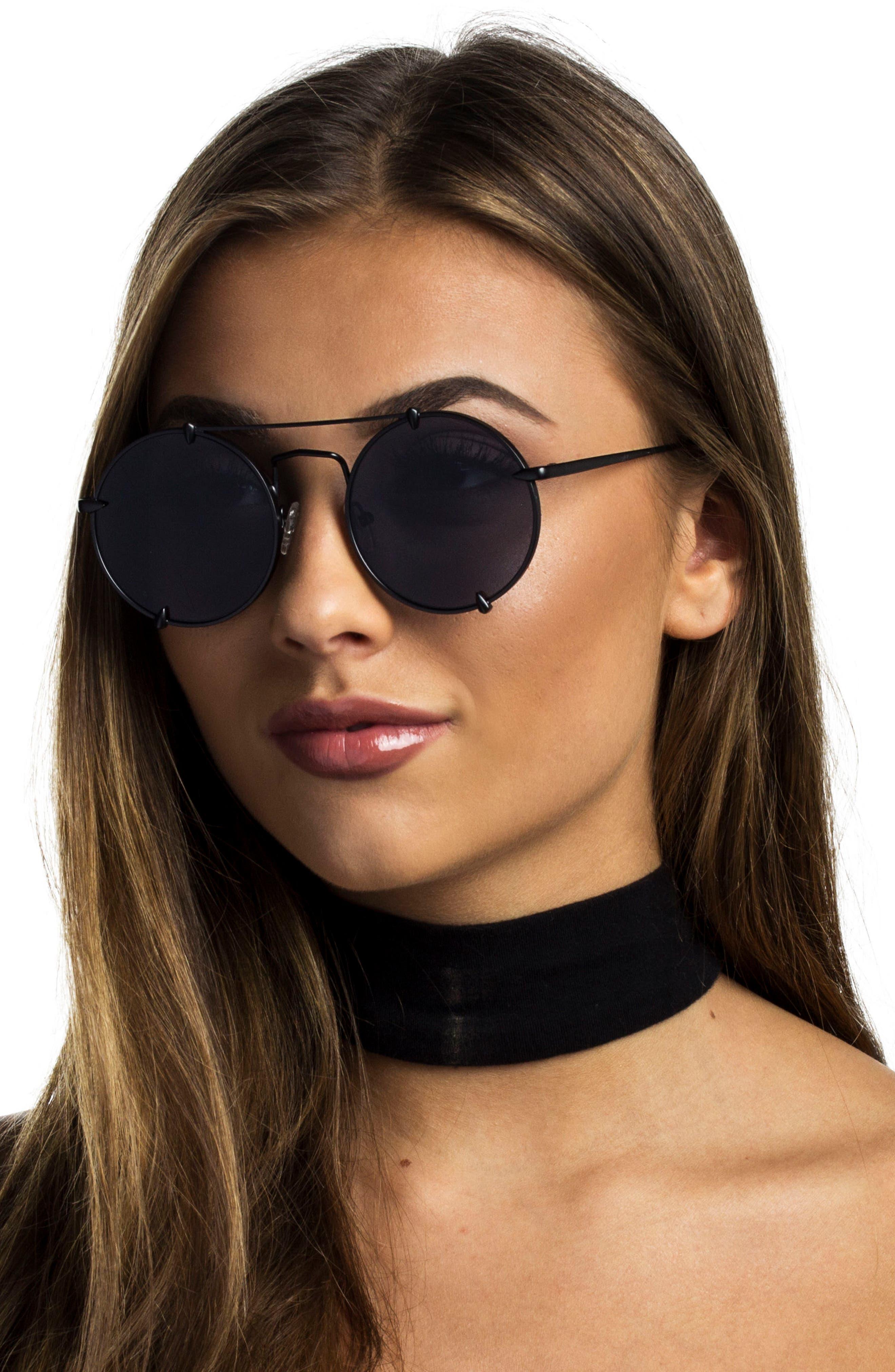 Bonnie Clide Pico 51mm Round Browbar Sunglasses,                             Alternate thumbnail 4, color,                             001