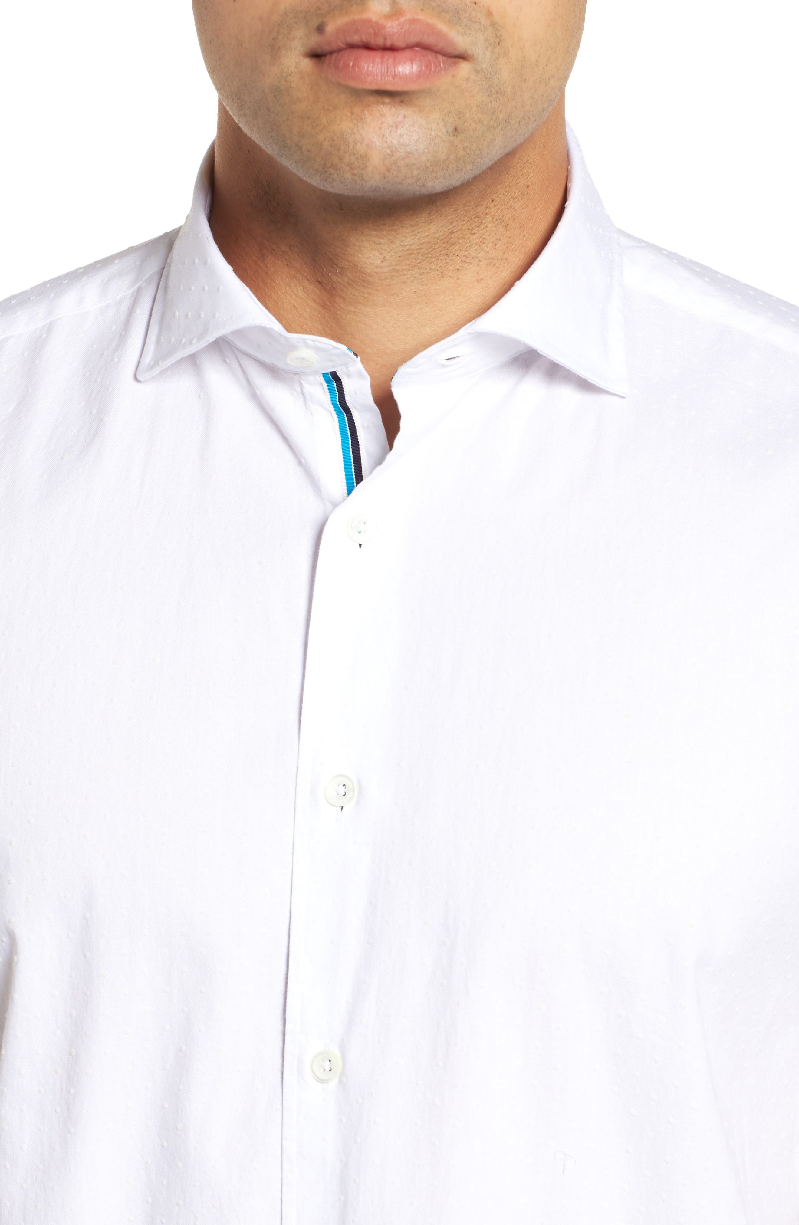 Shaped Fit Solid Sport Shirt,                             Alternate thumbnail 2, color,                             WHITE