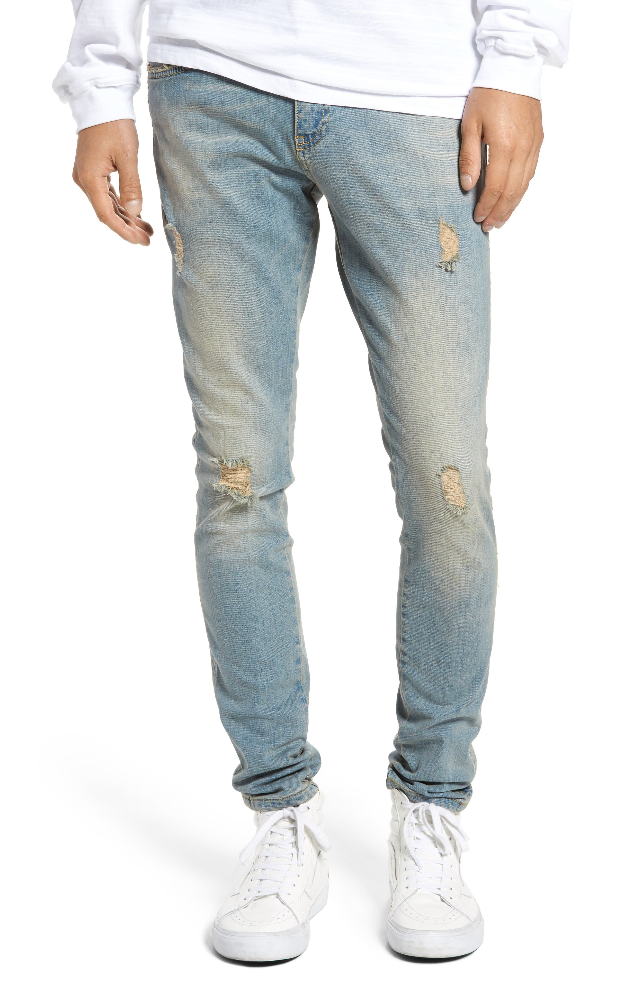 Slim Fit Distressed Jeans,                             Main thumbnail 2, color,