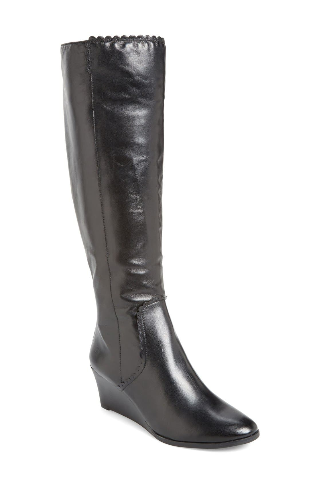 JACK ROGERS,                             'Mia' Knee High Wedge Boot,                             Main thumbnail 1, color,                             001