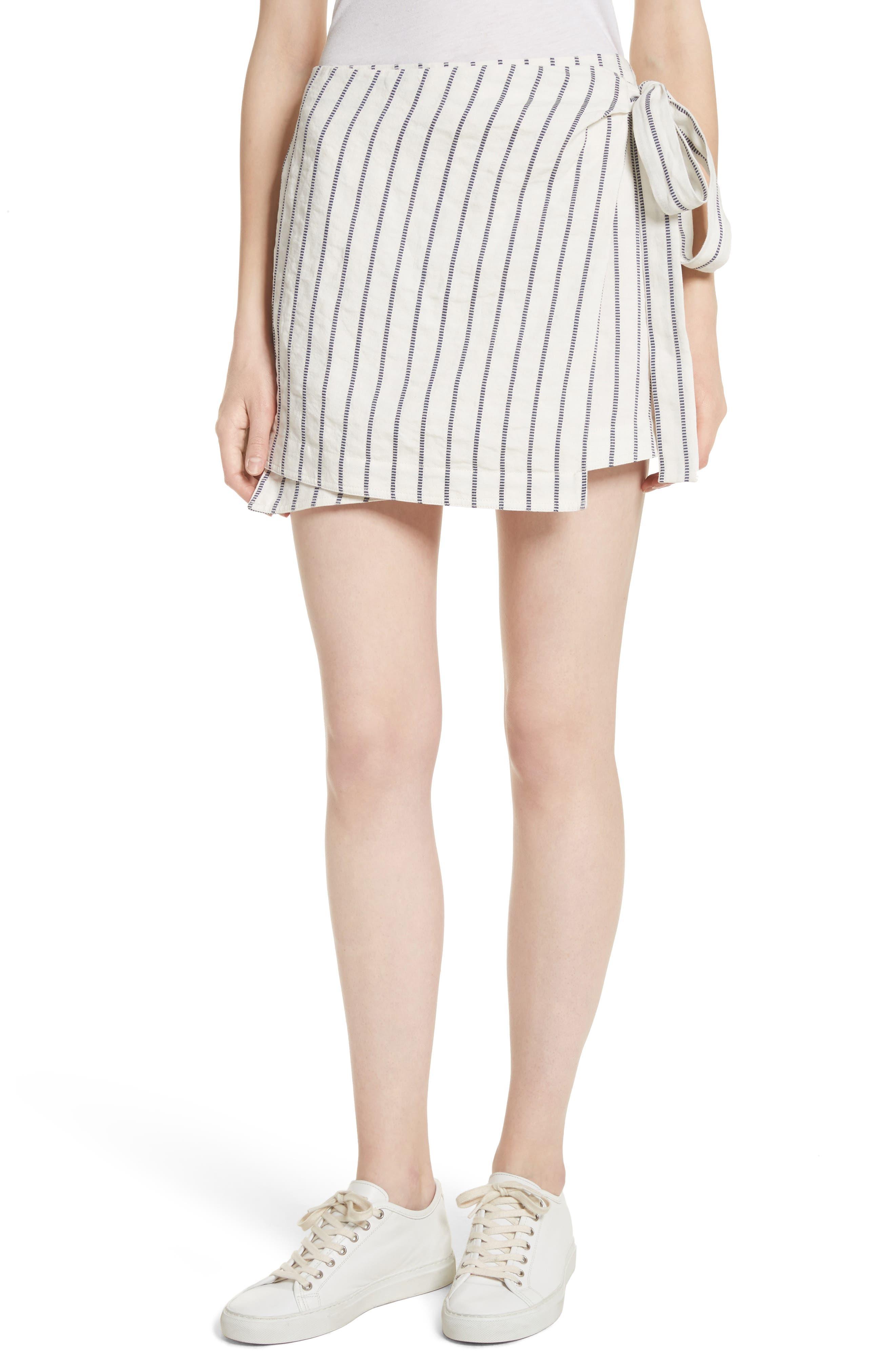Tie Wrap Stripe Miniskirt,                         Main,                         color, 497