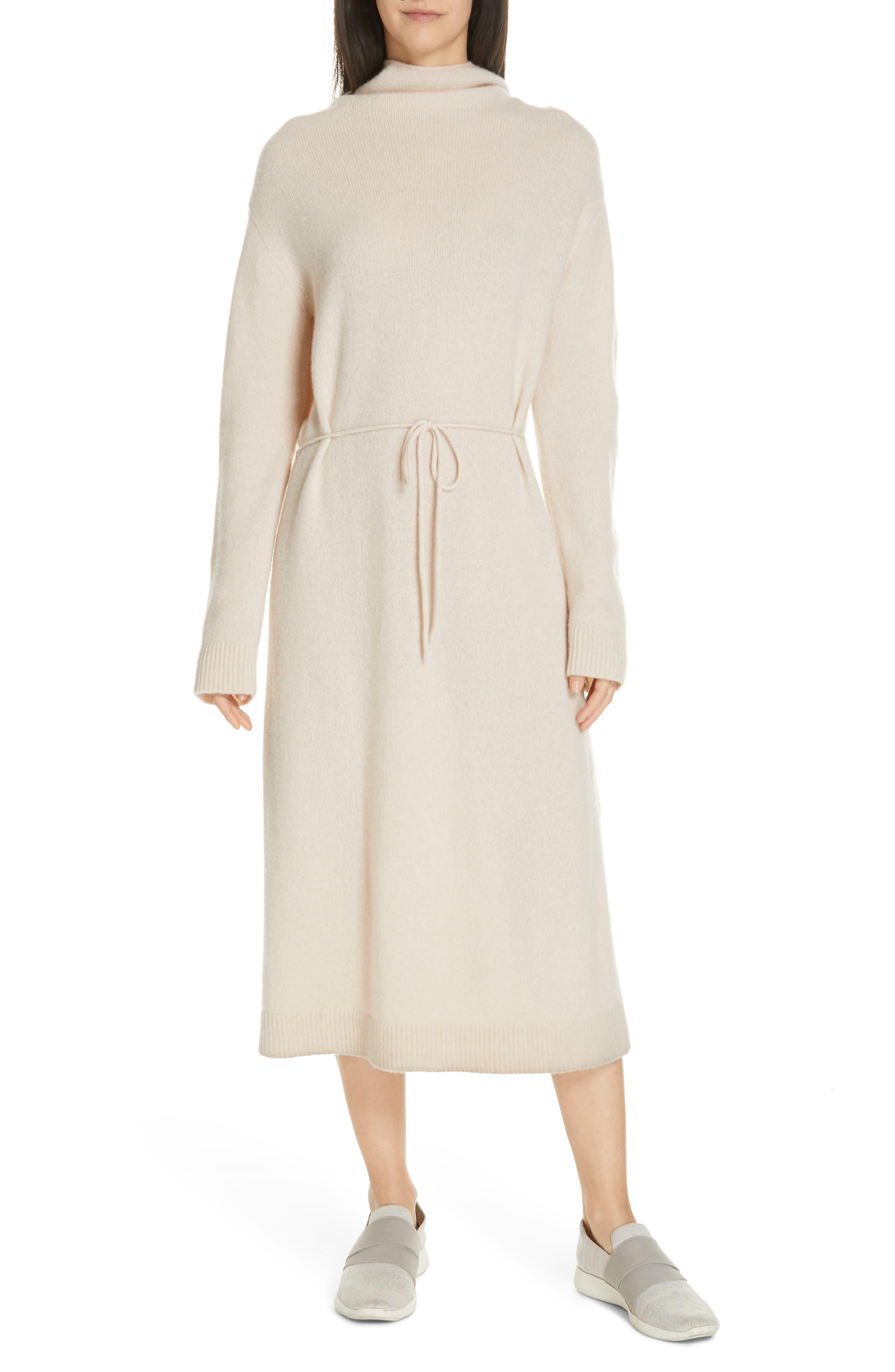 VINCE,                             Funnel Neck Wool & Cashmere Sweater Dress,                             Main thumbnail 1, color,                             BLUSH