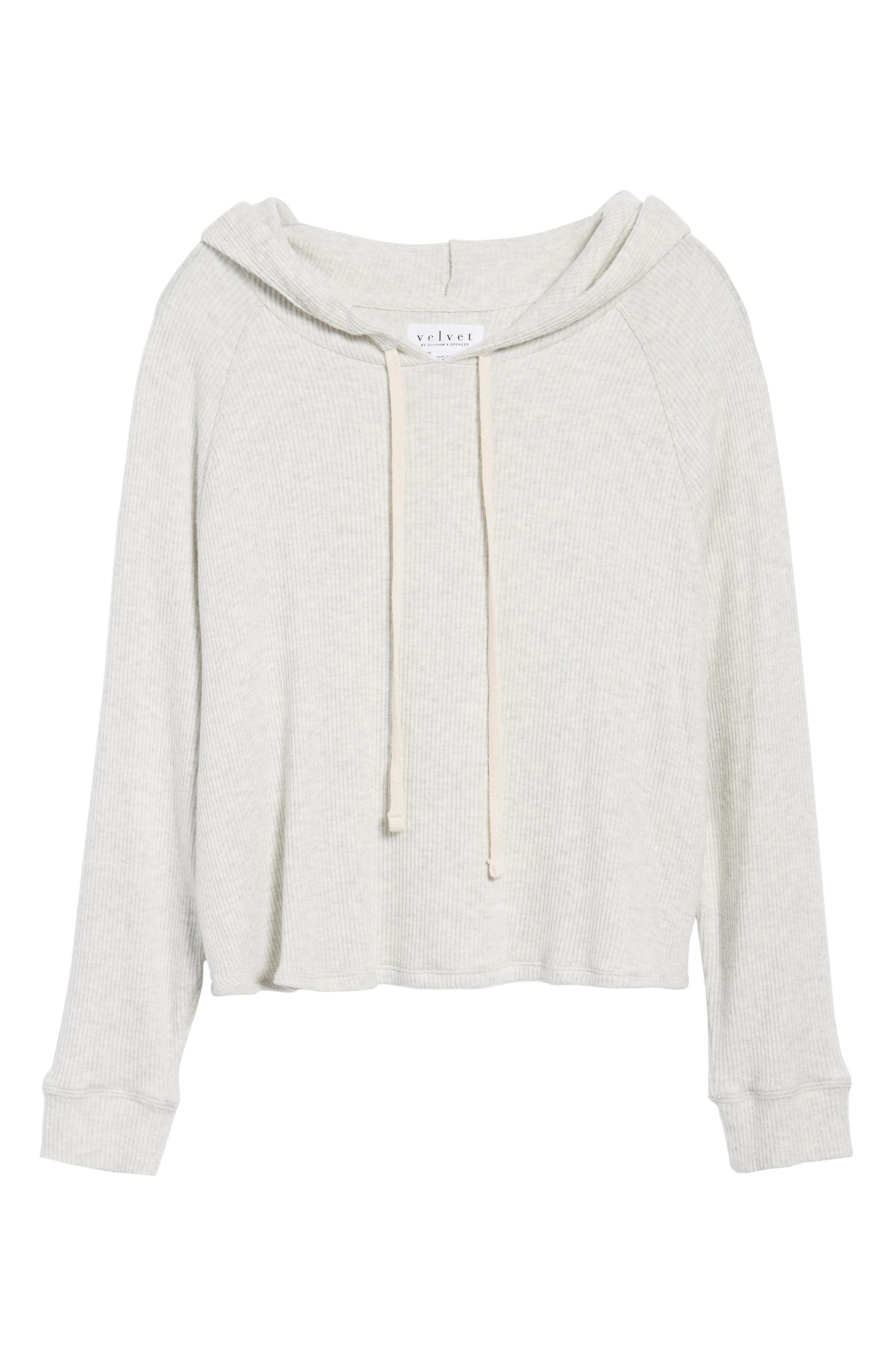 Cozy Ribbed Hoodie,                             Alternate thumbnail 6, color,                             905