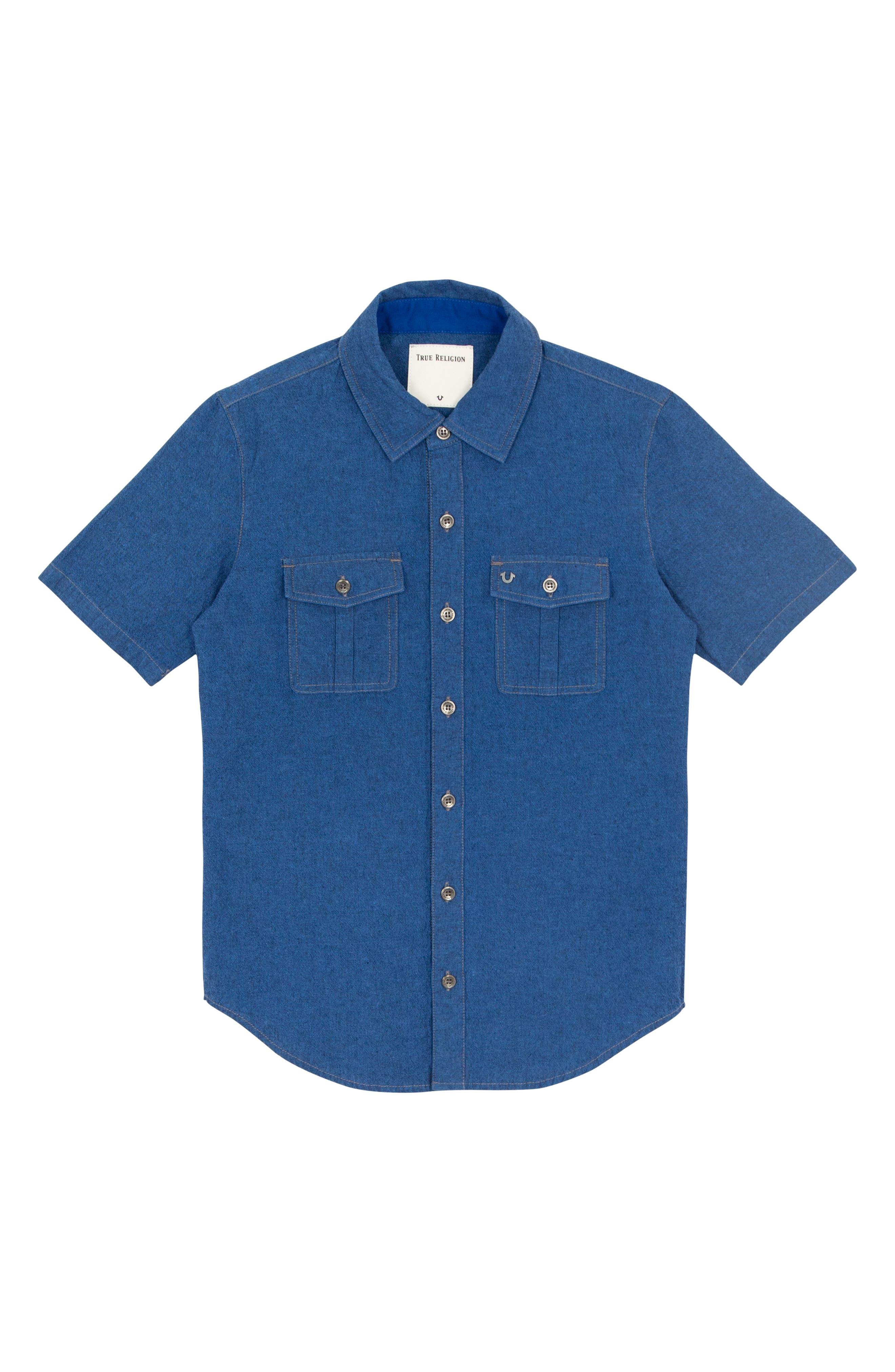 Woven Shirt,                         Main,                         color, ROYAL BLUE